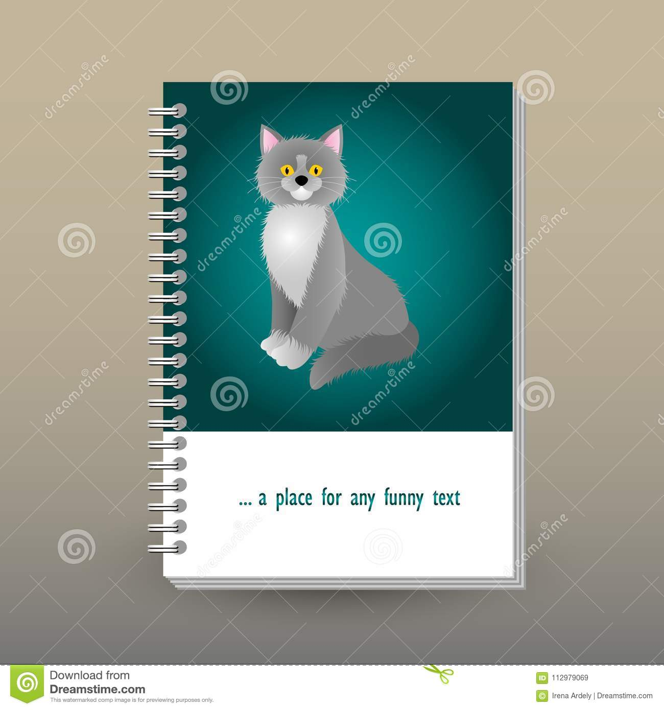 Vector cover of diary with ring spiral binder - format A5 - layout brochure concept - cerulean green blue turquoise co