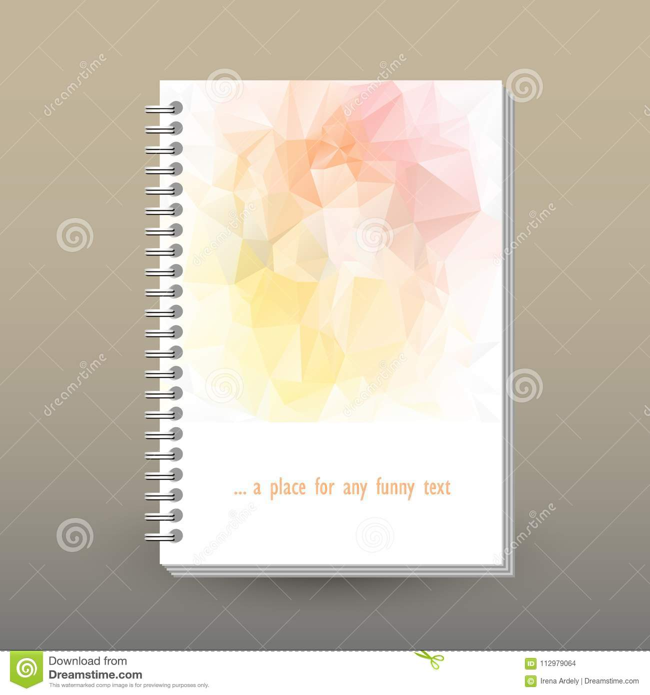 Vector cover of diary with ring spiral binder - format A5 - layout brochure concept - light pink, peach, soft yellow c