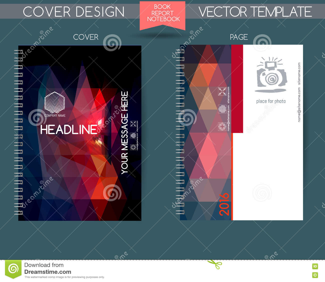 Book Cover Page Design ~ Vector covers for books notebooks annual report stock