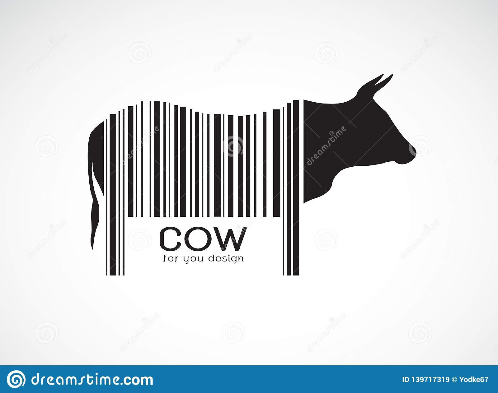Vector of cow on the body is a barcode. Farm Animals. Cow design. Easy editable layered vector illustration