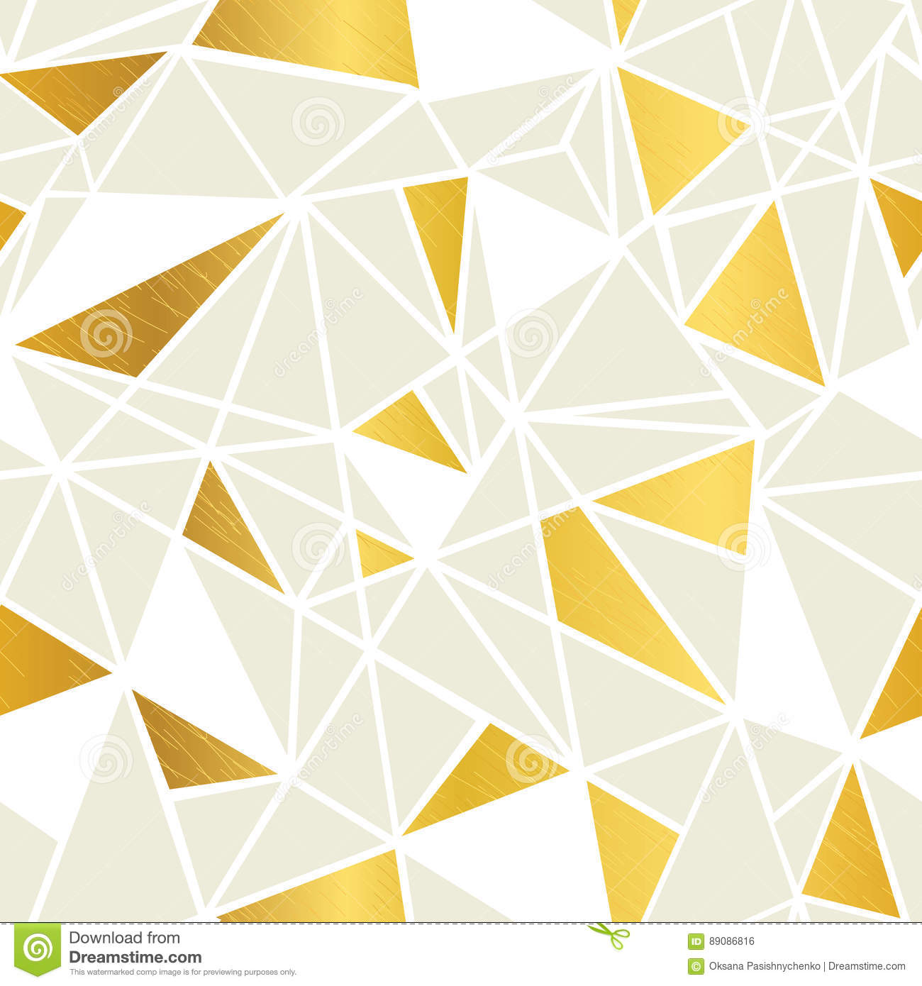 Vector Cream And Gold Foil Geometric Mosaic Triangles