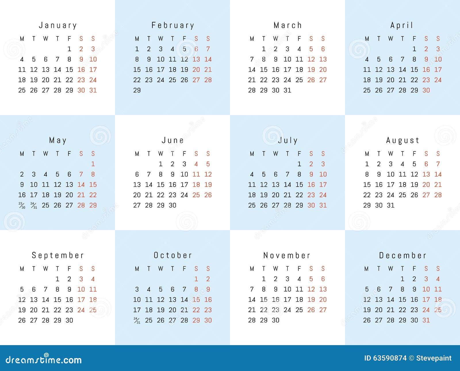 Creative Calendar Template : Vector creative calendar stock image