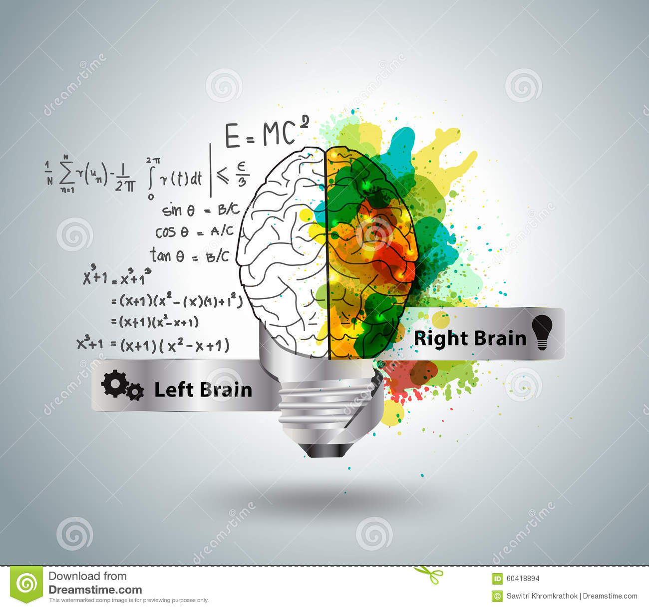 Vector Creative Concept Of The Human Brain With Light Bulb