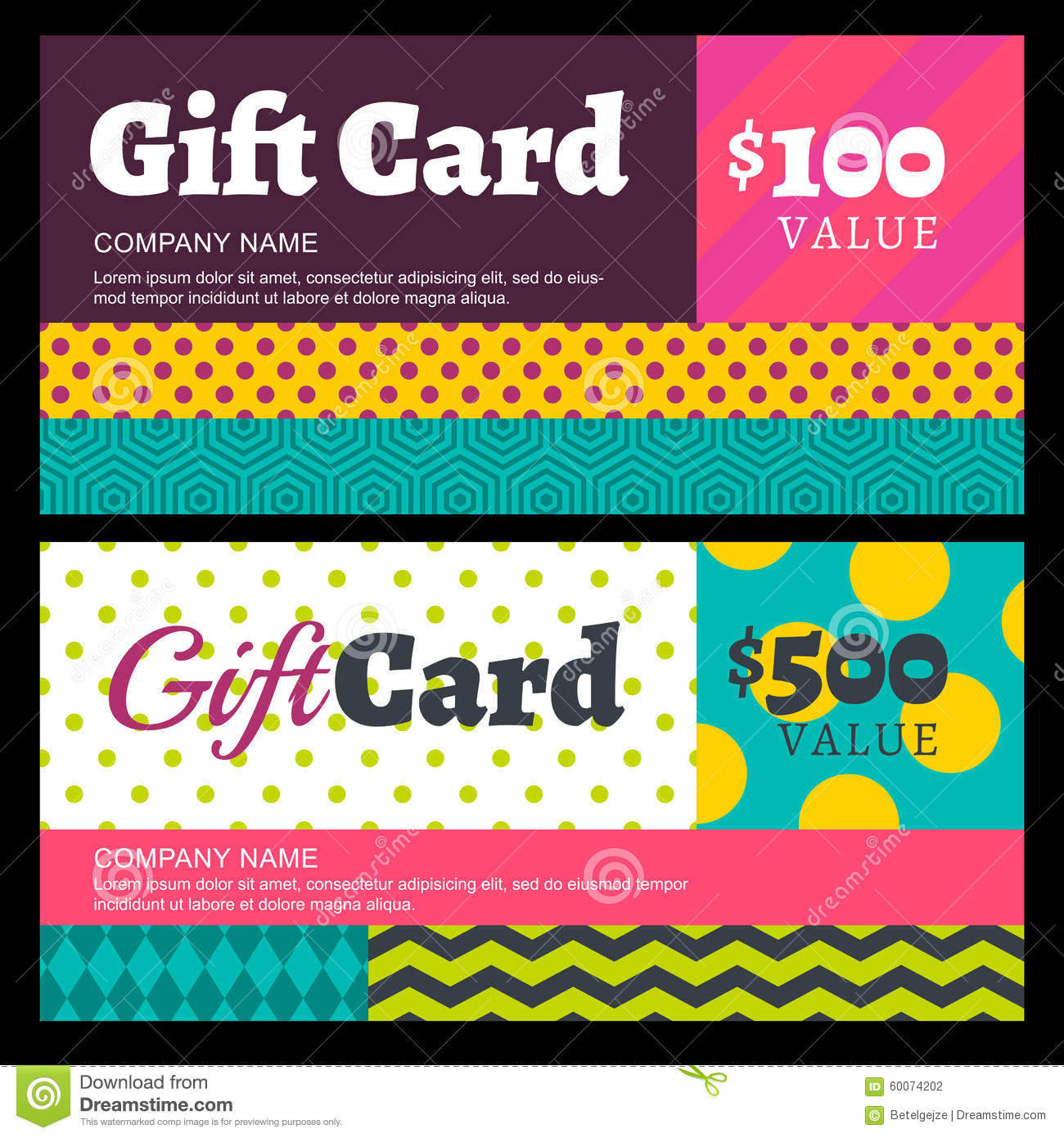 Vector Creative Gift Card Or Voucher Background Template. Multic Stock Vector  Illustration of