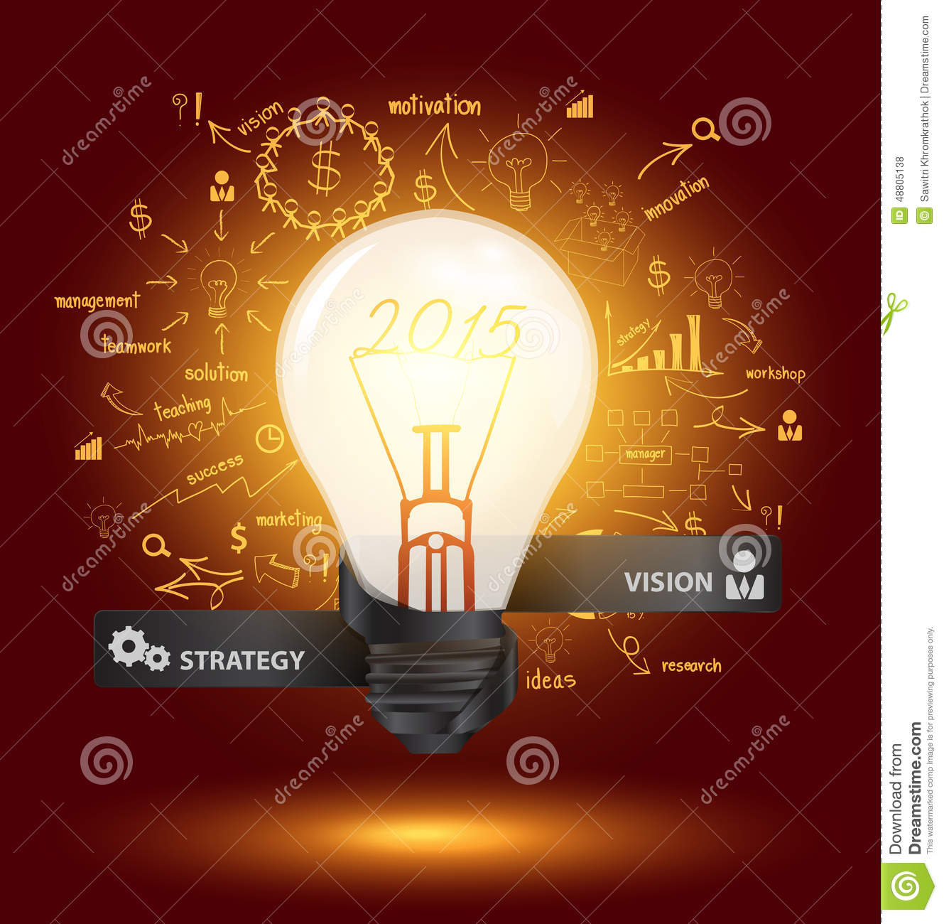 Vector Creative Light Bulb With Drawing Charts And Graphs Stock