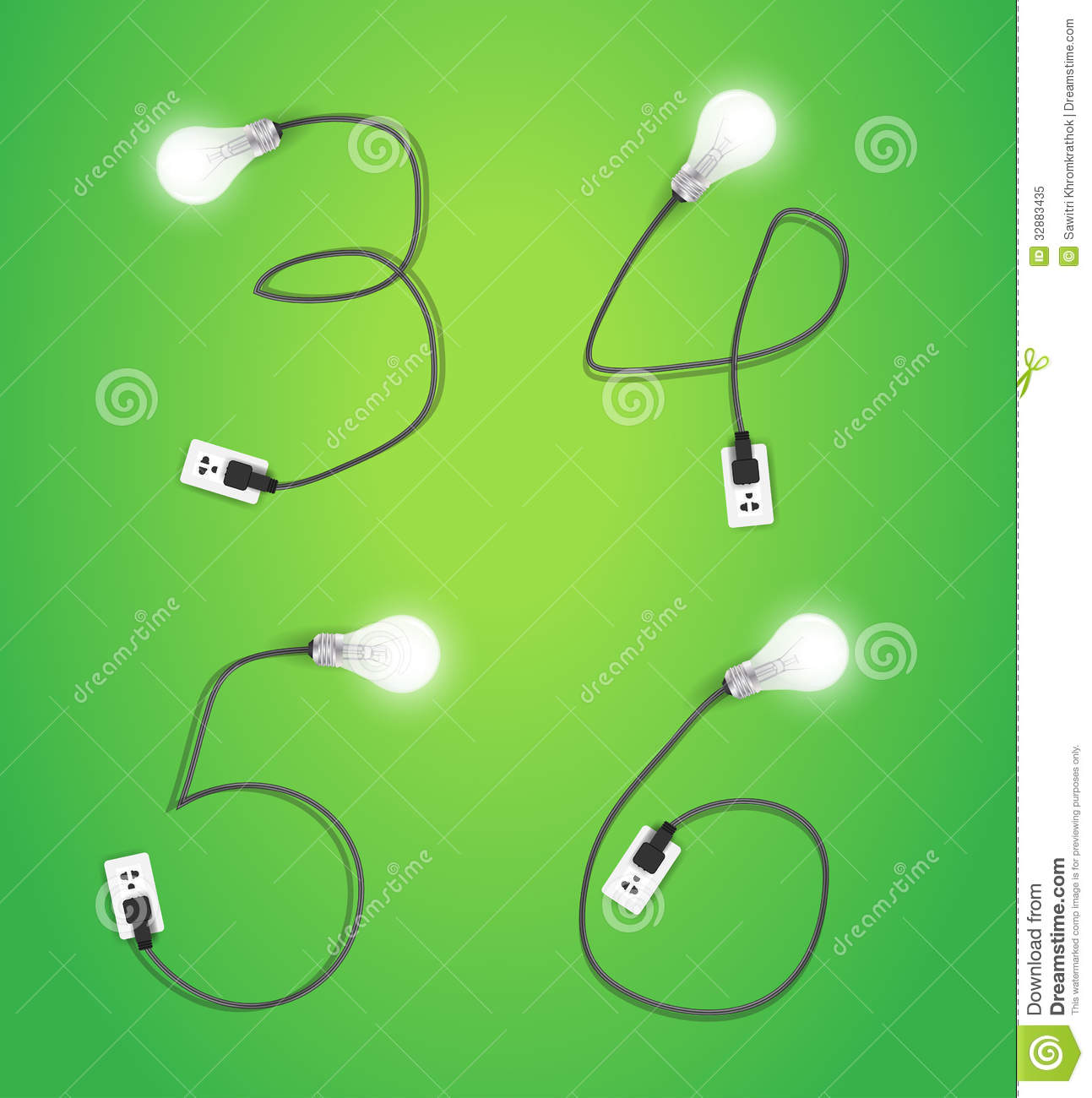 Vector creative light bulb idea alphabet design stock for Blueprint number
