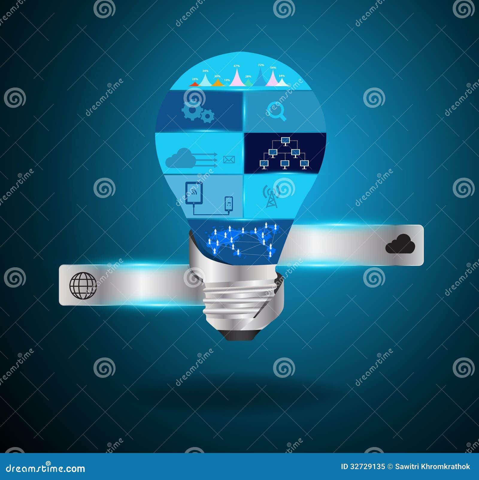 Light Process Company: Vector Creative Light Bulb Idea With Modern Techno Stock