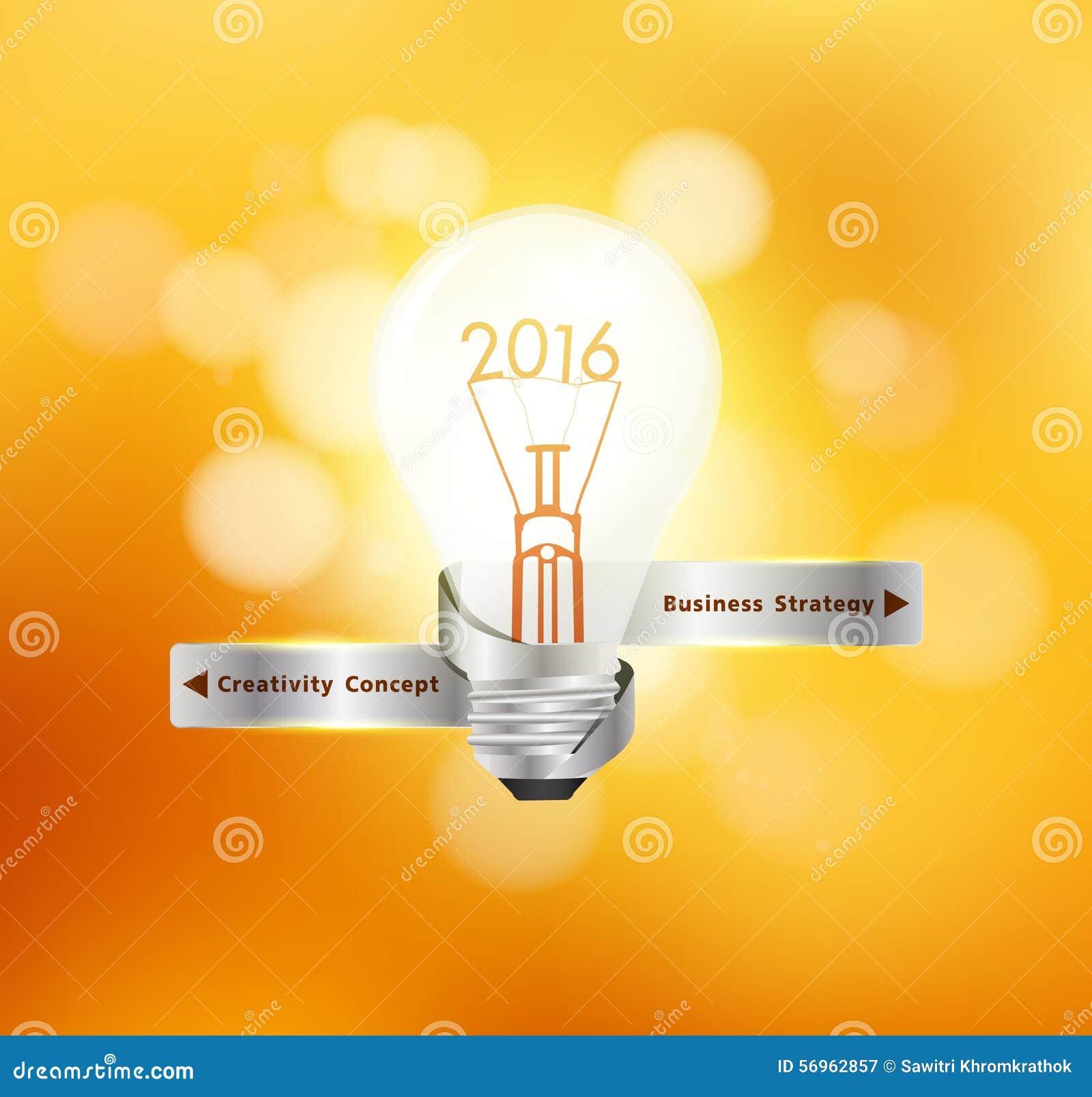 Vector creative light bulb idea 2016 new year