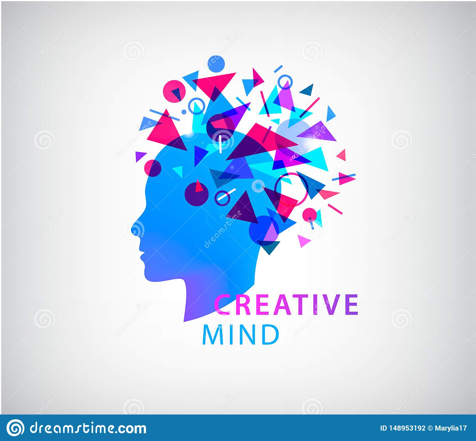 Vector creative mind, human head logo concept illustration. Learning icon. Innovation technology symbol. Digital modern