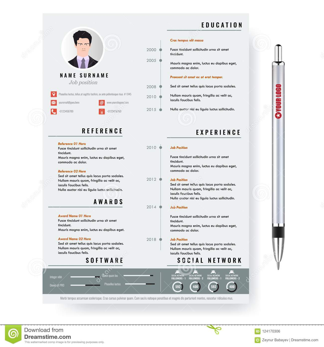 vector creative minimalist cv resume template with two