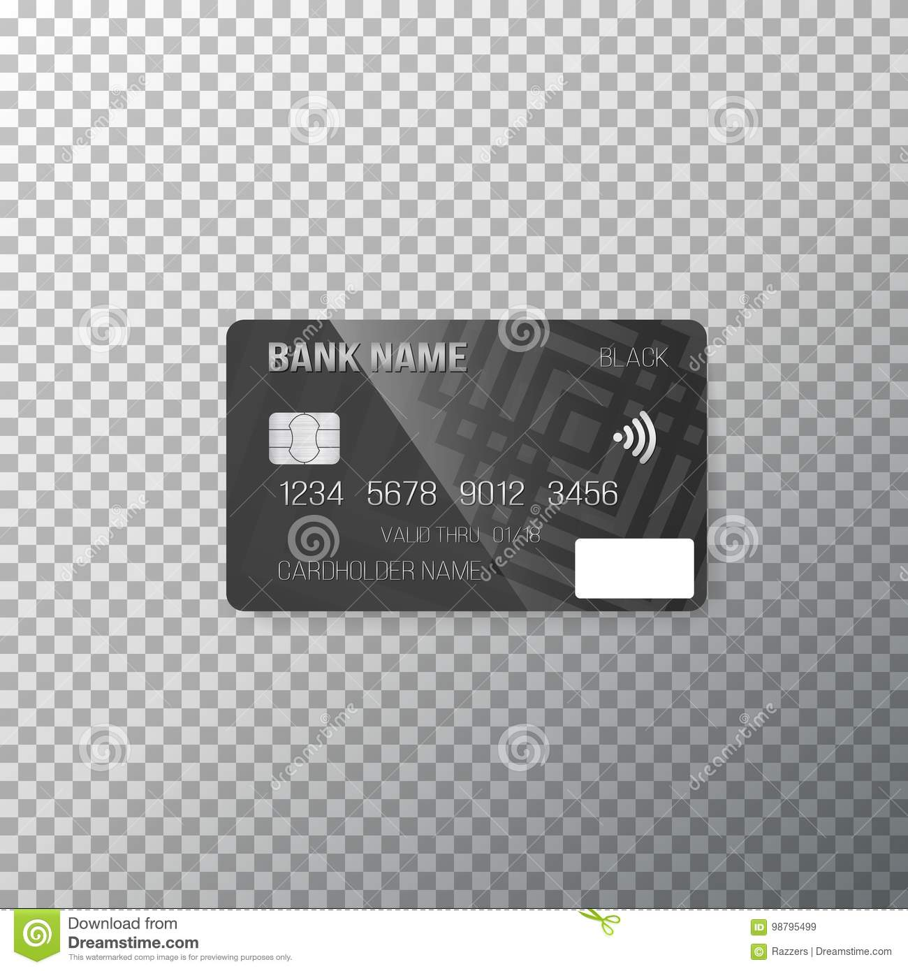 vector credit card photorealistic bank card on transparent