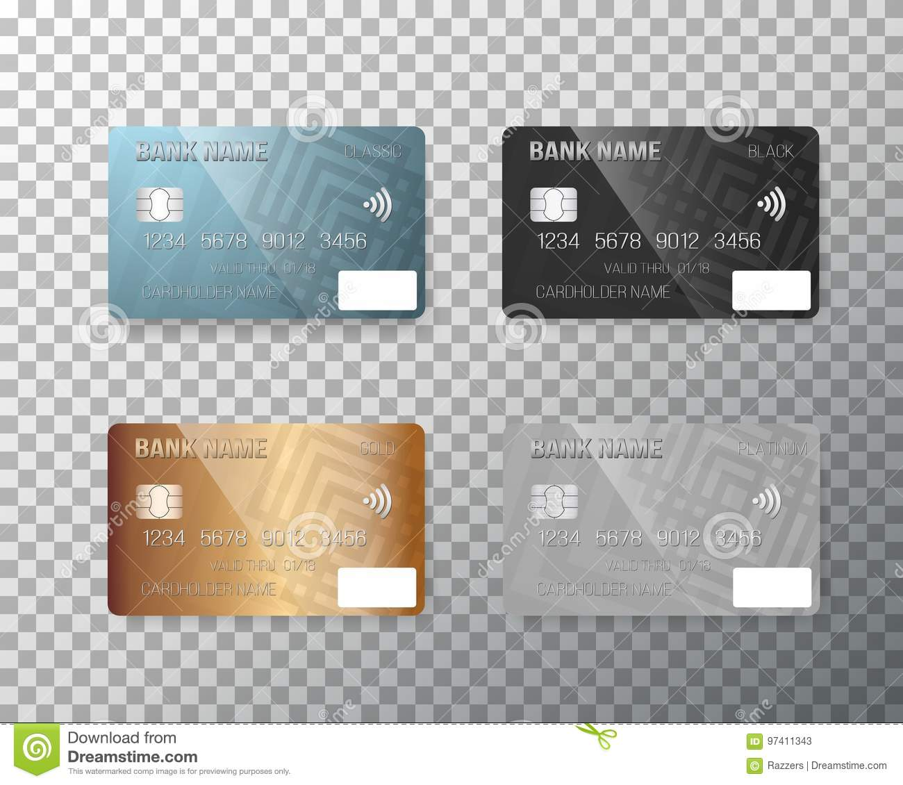 vector credit card set realistic bank cards on transparent