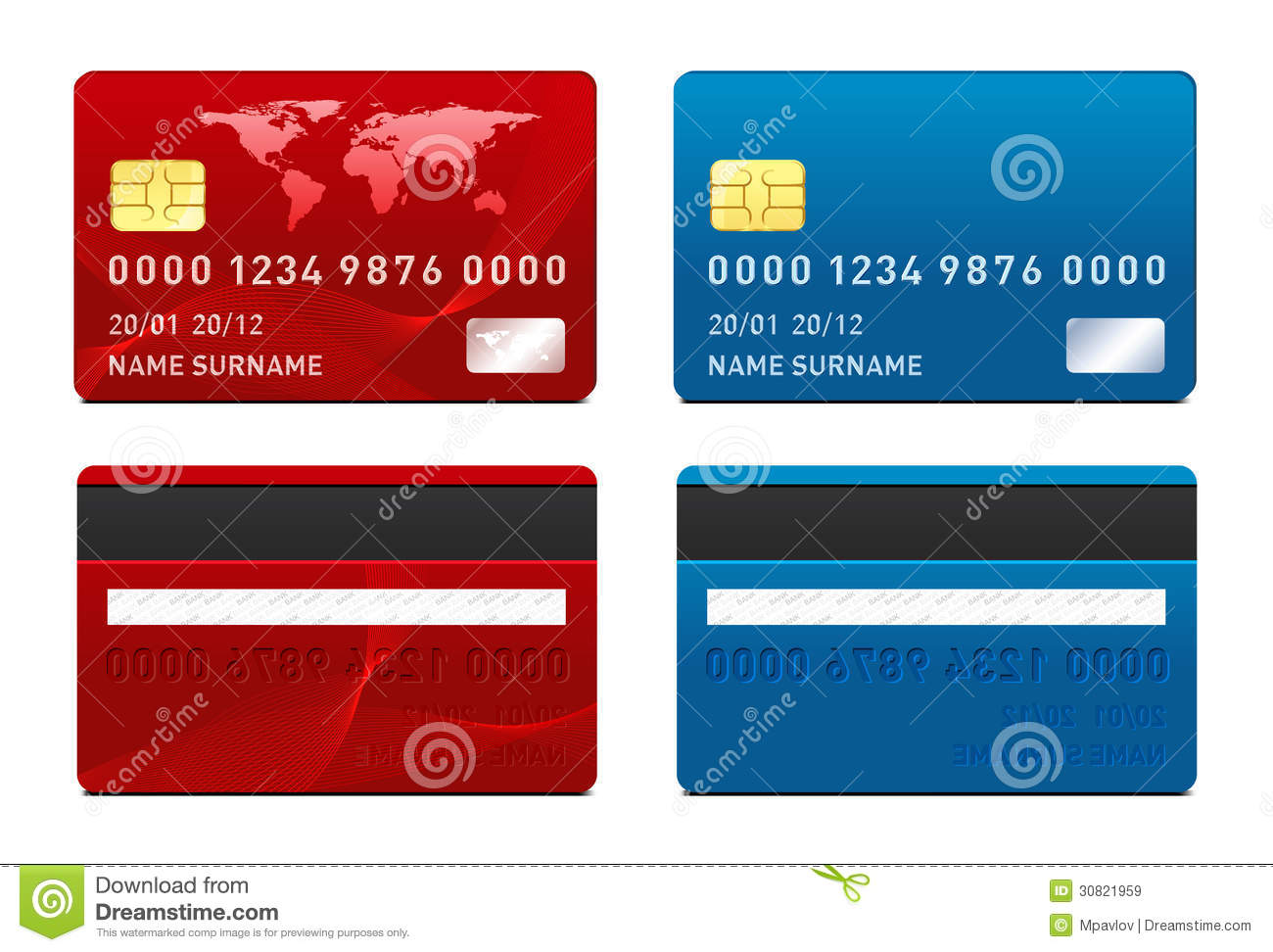 Vector Credit Card template Front and back side 8EChugmW