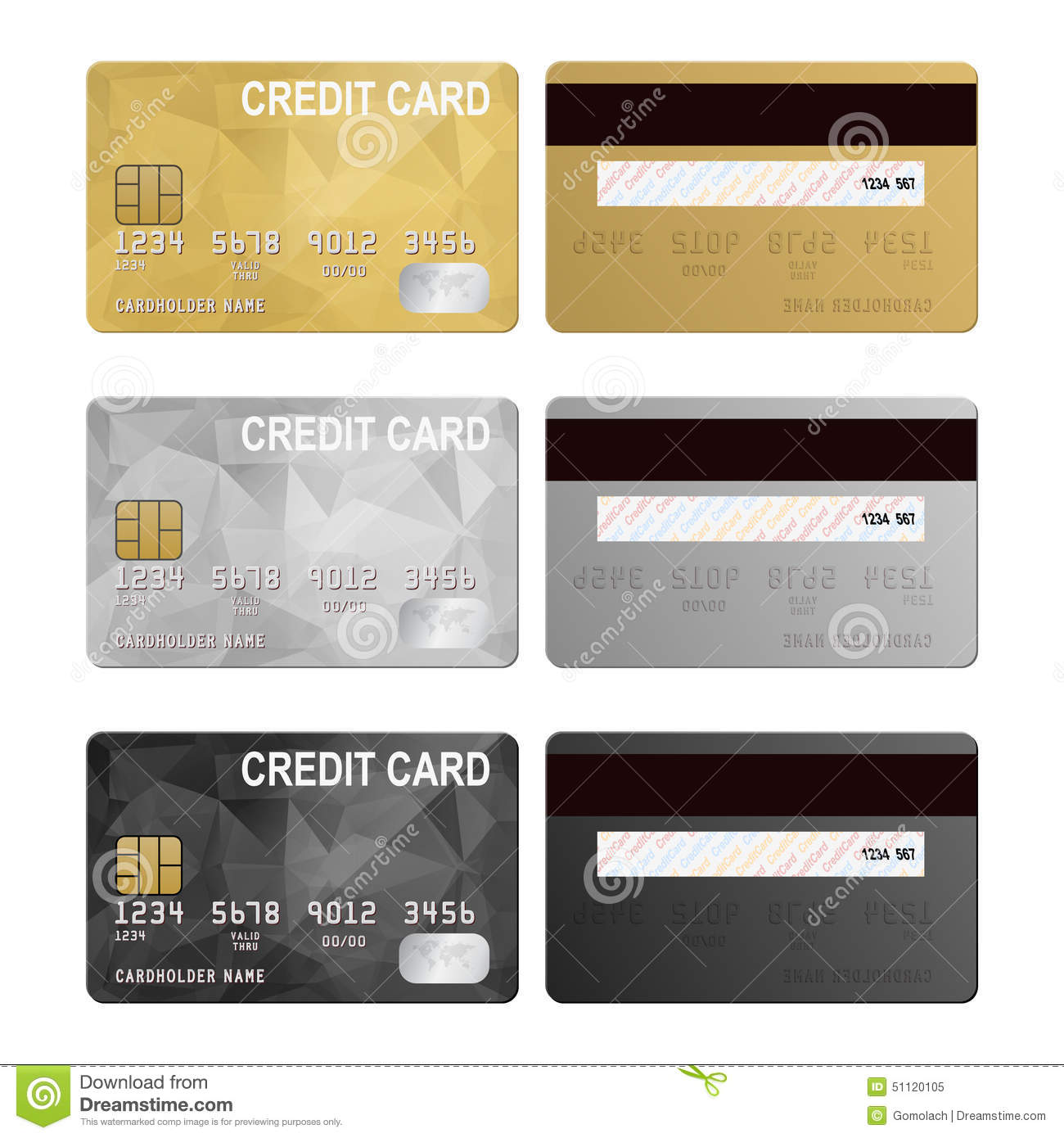 Vector Credit Cards, Front And Back View Stock Vector