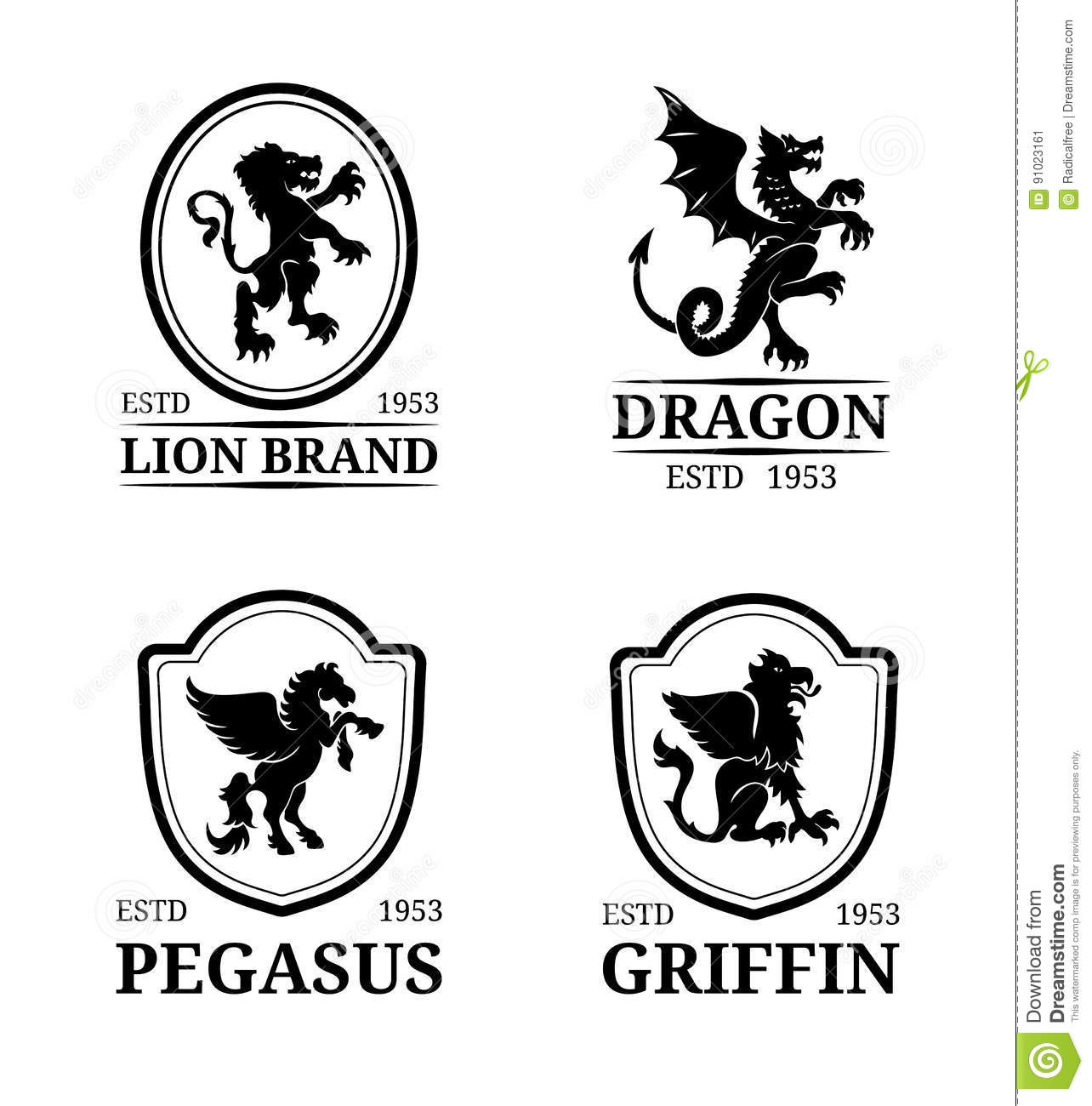 Vector Crest Monogram Templates Luxury Pegasus Dragon Lion Griffin Design Graceful Animals Silhouettes Illustrations Used For Hotel Restaurant
