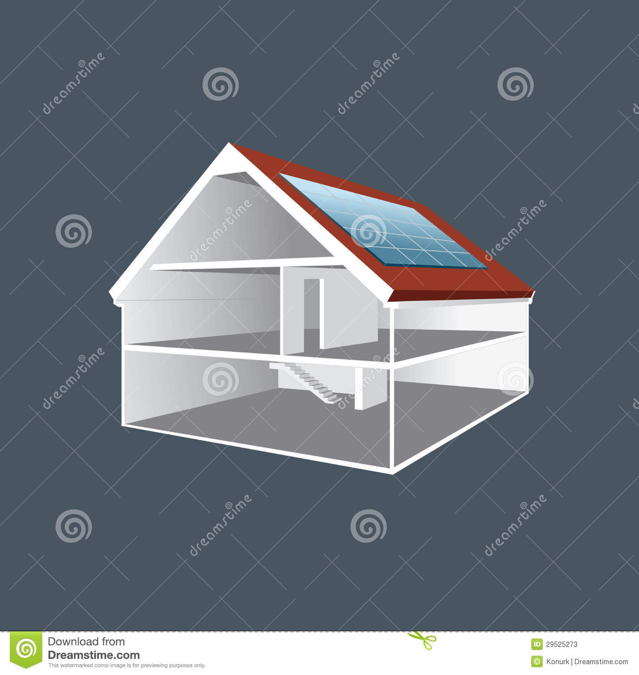 Vector Cross Section House Drawing Stock Vector