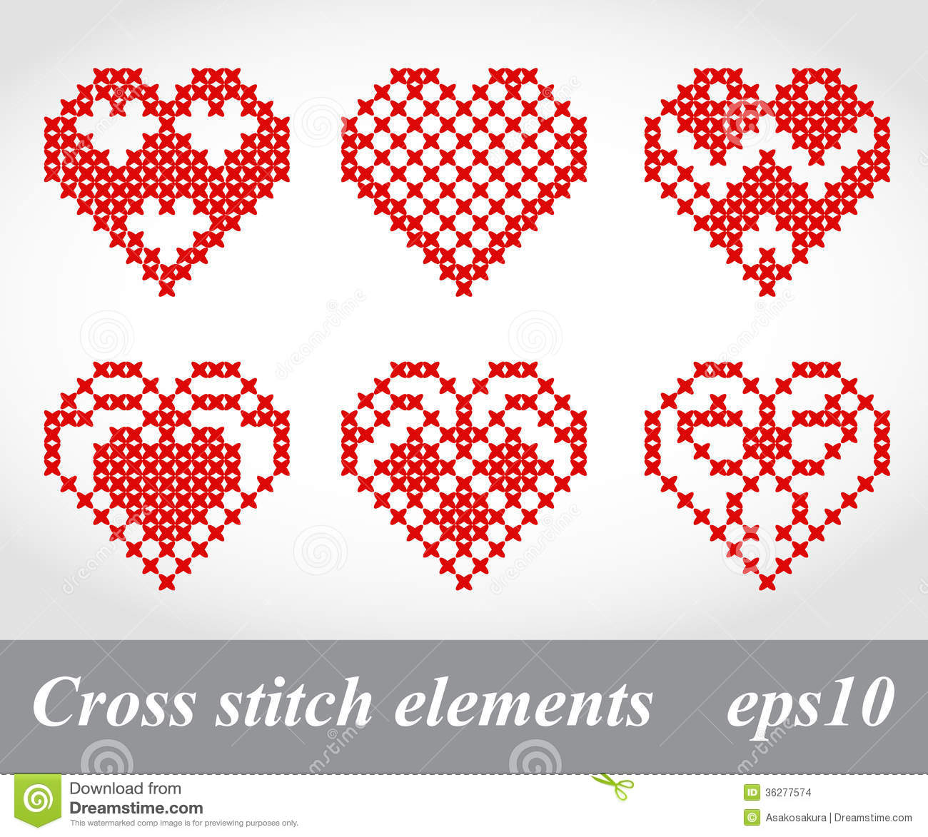 Vector Cross Stitch Embroidery Design Elements Stock