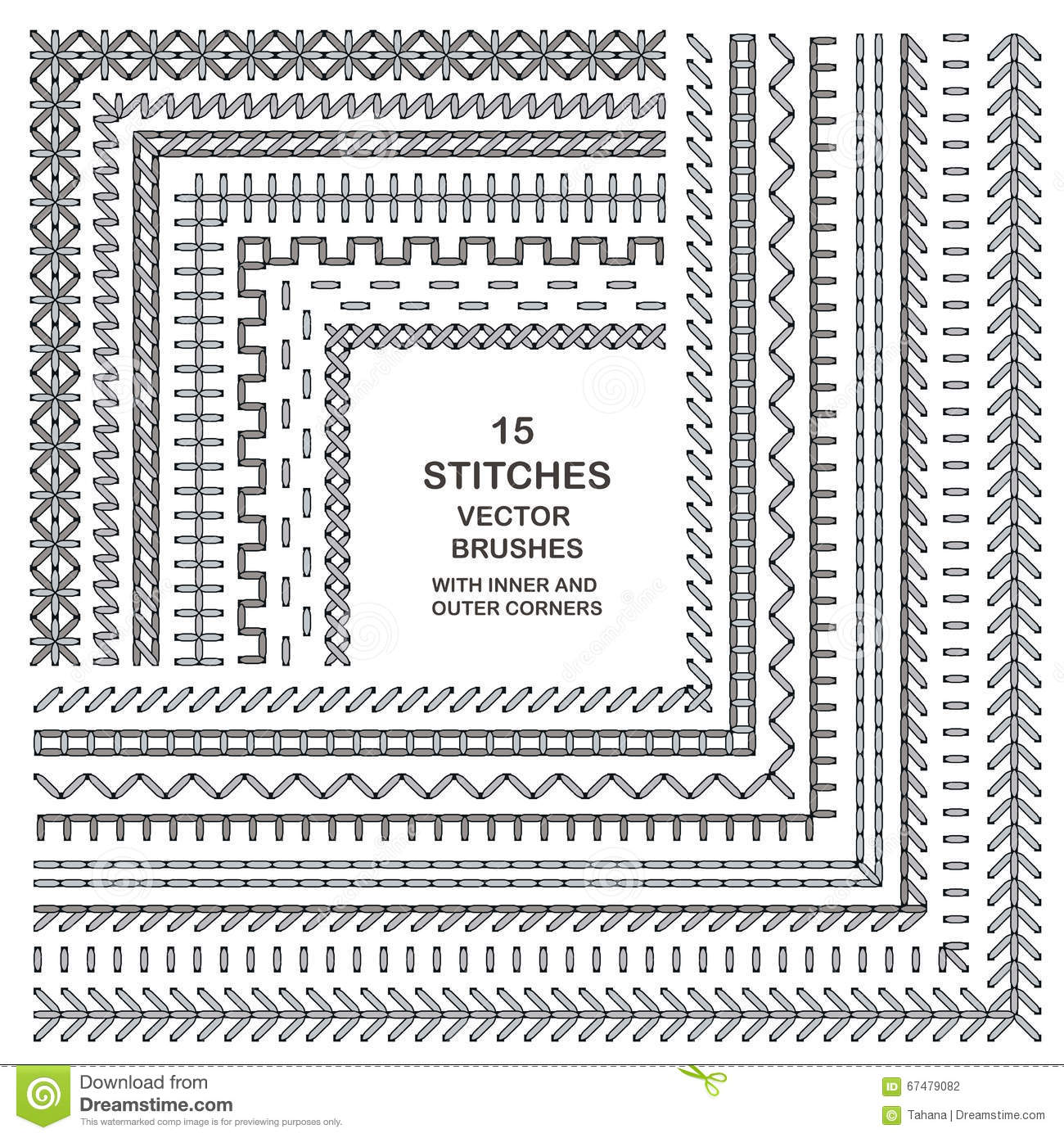 Vector Cross Stitches Pattern Brushes Stock Vector