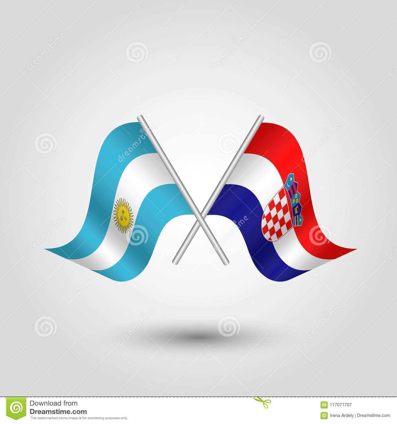 Vector Crossed Argentine And Croatian Flags On Silver Sticks
