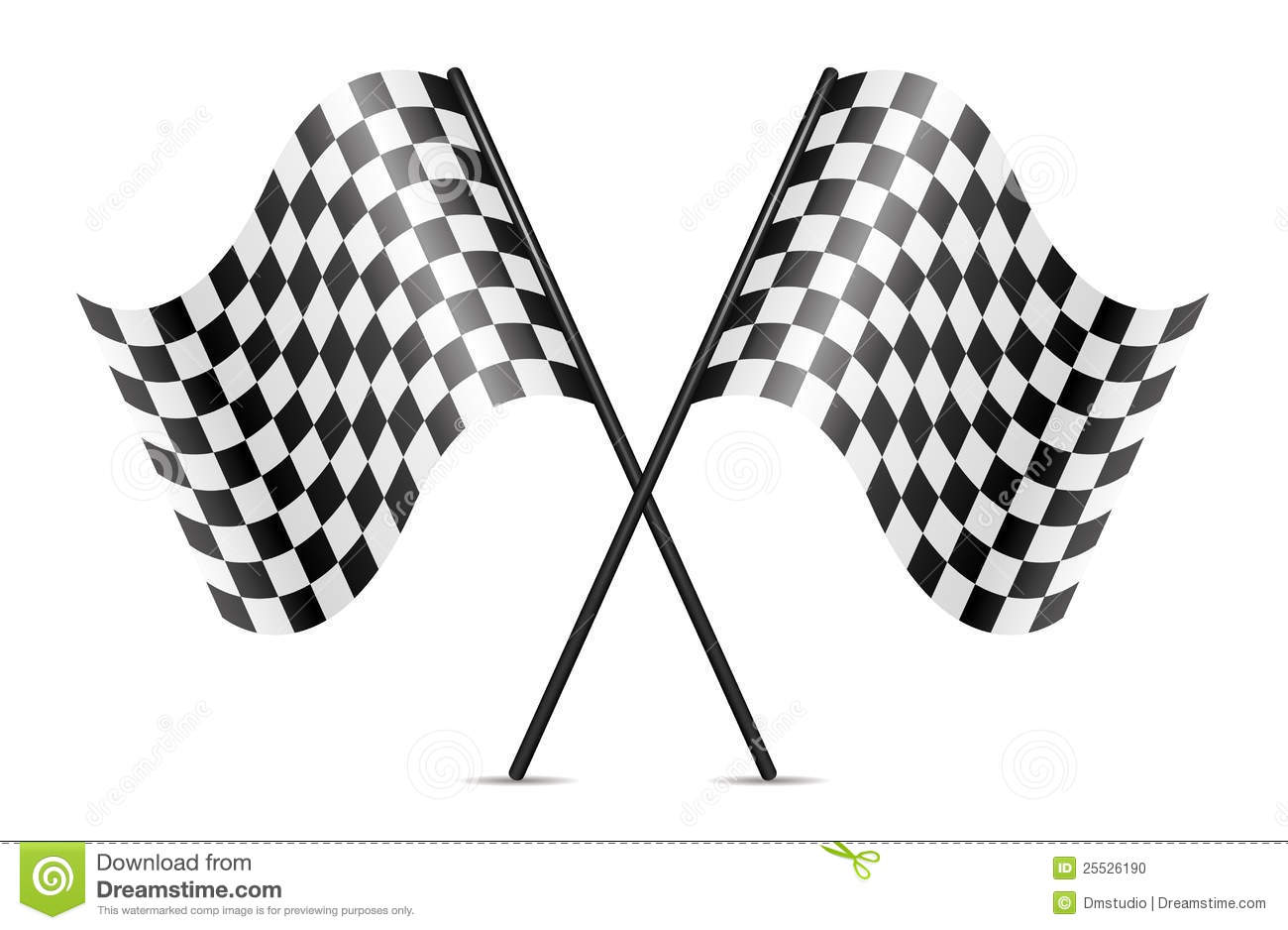 vector crossed racing flags stock photo