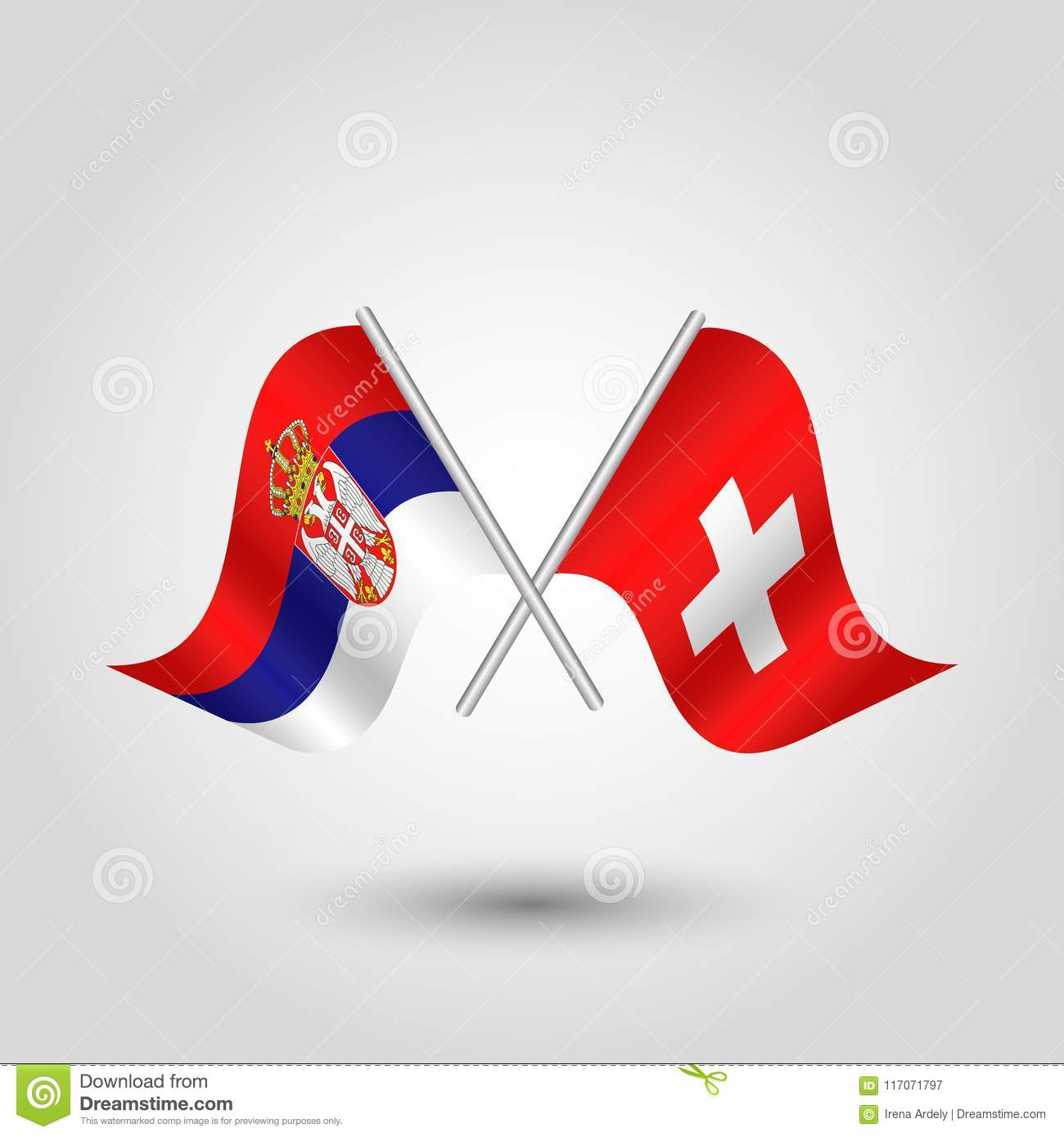 Vector Crossed Serbian And Swiss Flags On Silver Sticks Symbol Of