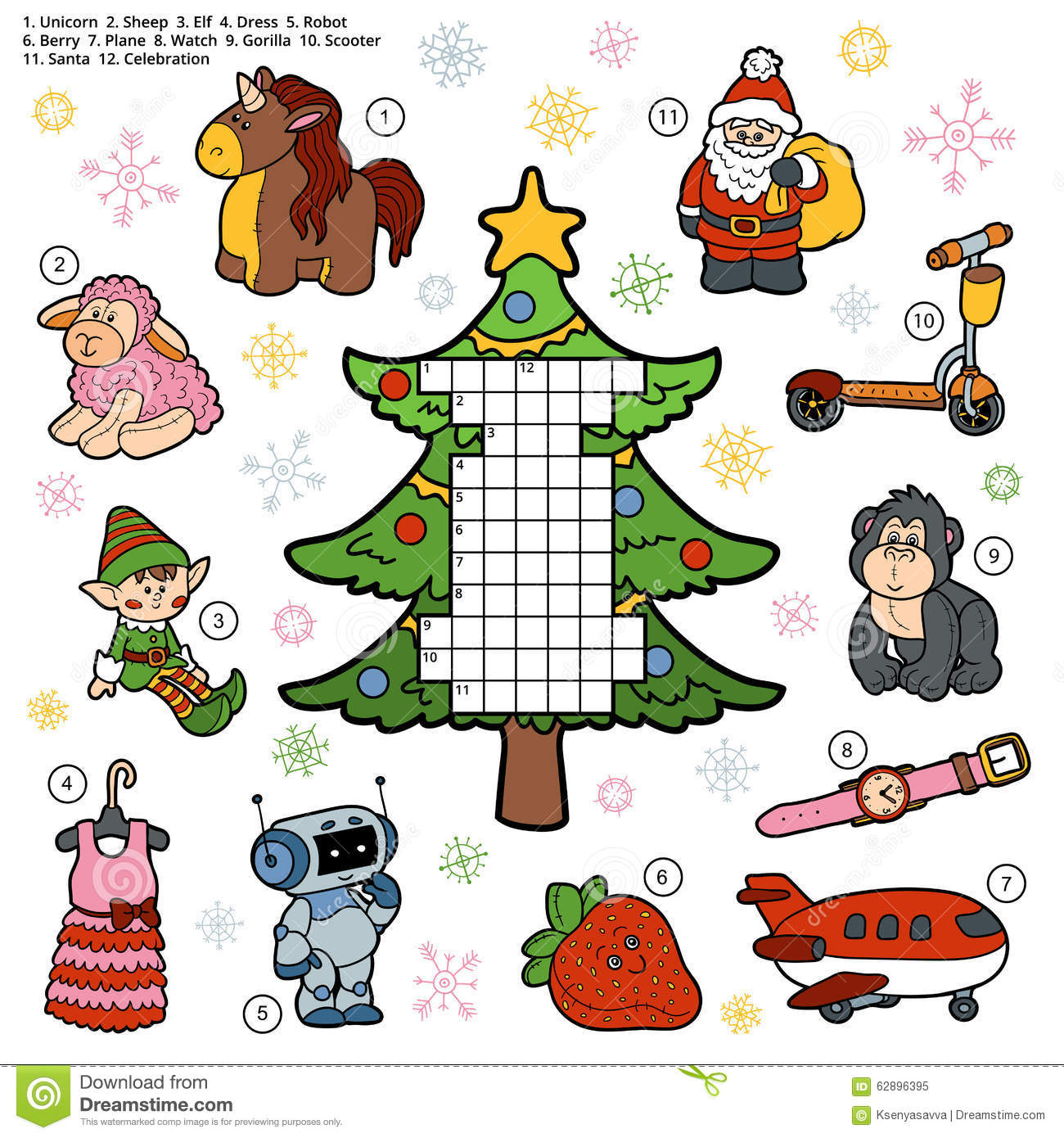 Vector Crossword, Education Game For Children About Christmas Pr ...