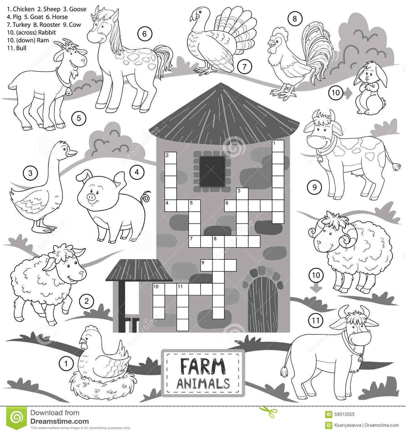 Vector Crossword, Education Game For Children About Farm