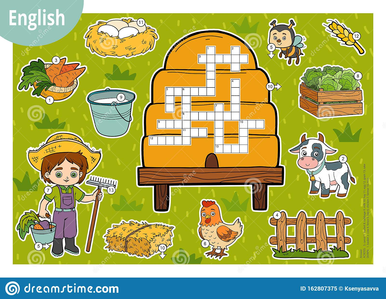 Vector Crossword In English Education Game For Children Cartoon Farm Set Stock Vector Illustration Of Crossword Language 162807375