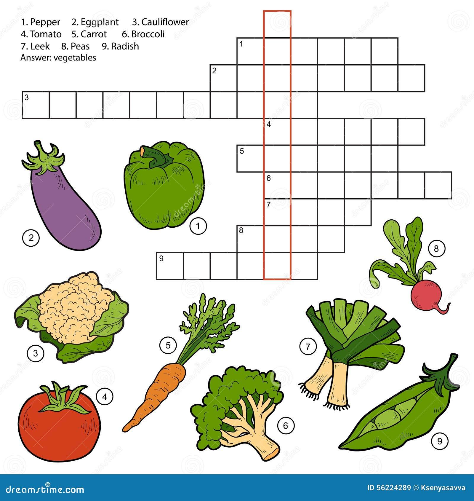Vector Crossword, Game For Children About Vegetables Stock Vector ...