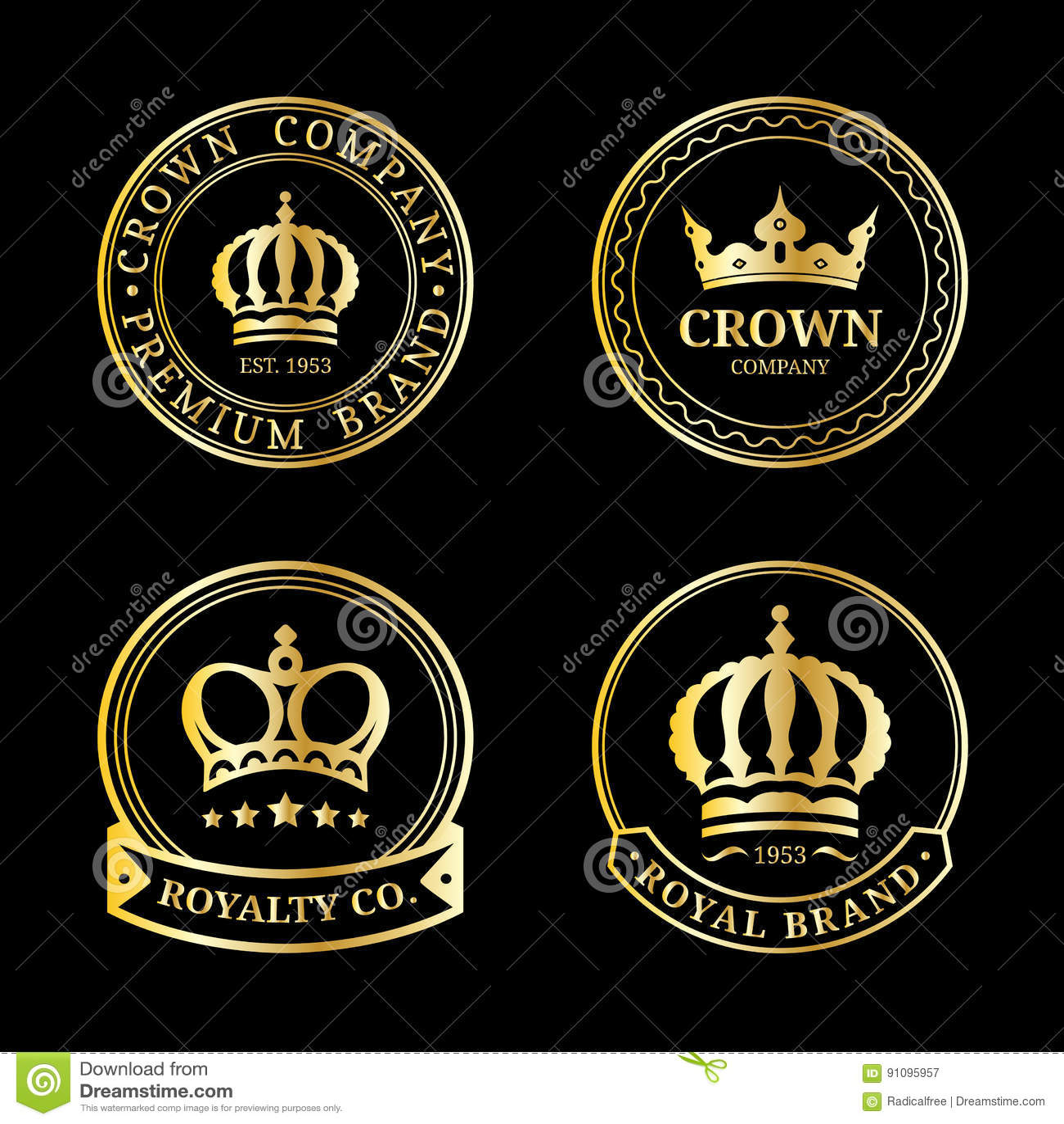 vector crown logos set luxury corona monograms design diadem icons