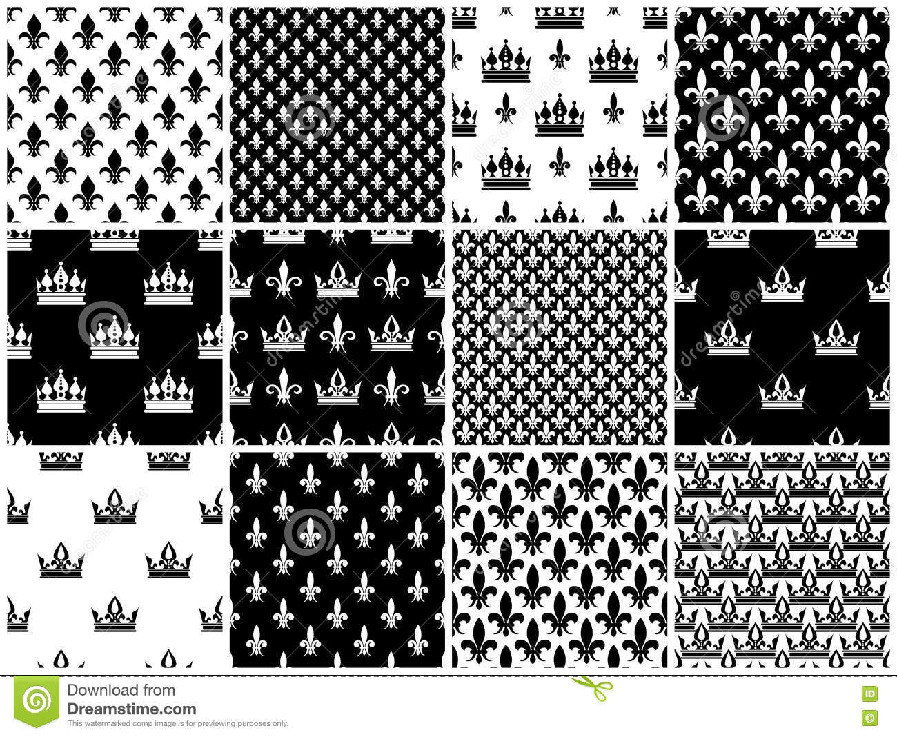 Vector Crowns And Fleur De Lis Seamless Patterns Set In Black Stock Vector Illustration Of Ornate Queen 78769687