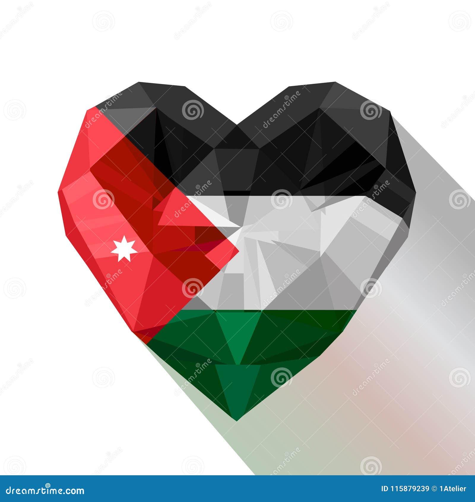vector crystal gem jewelry jordanian heart the flag of jordan stock