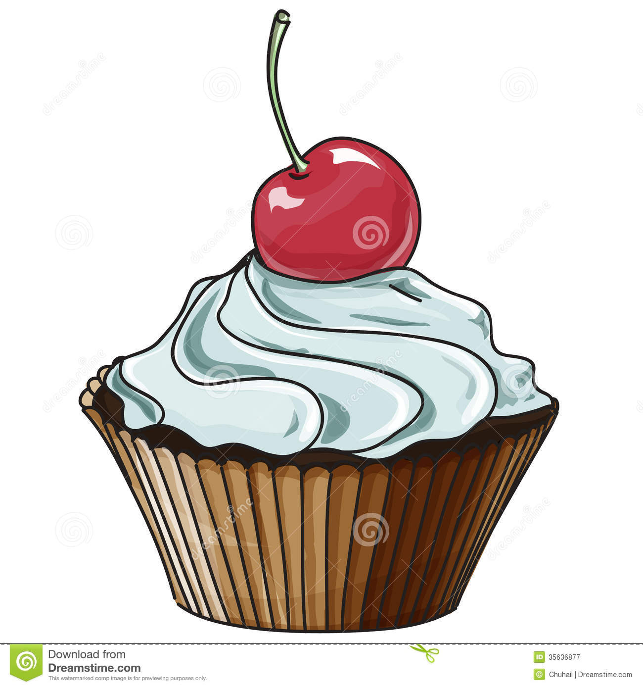 Vector Cupcake Isolated On White Royalty Free Stock ...