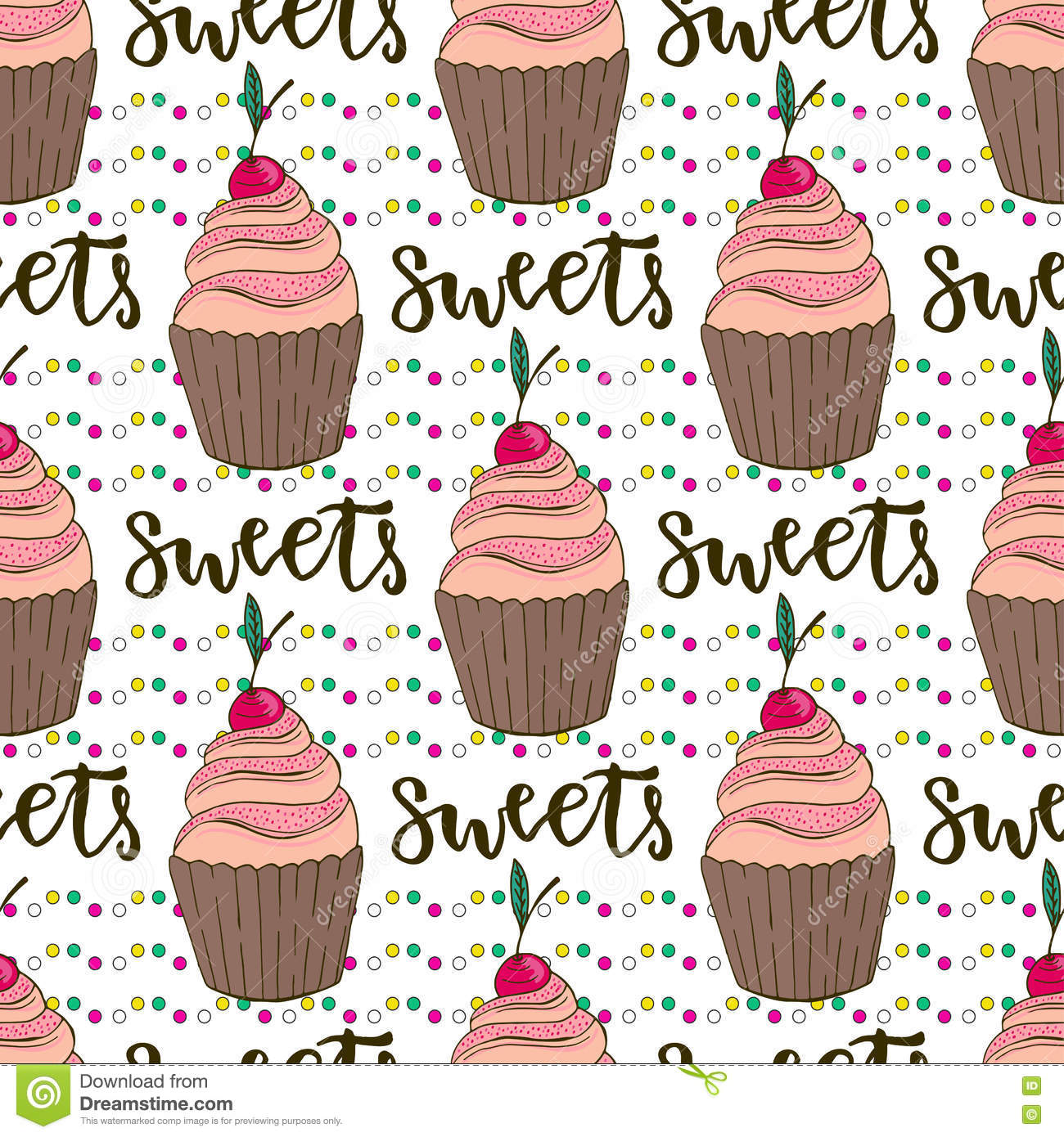 Vector Cupcakes Seamless Pattern Doodle Background With Sweets Cakes Birthday Decoration