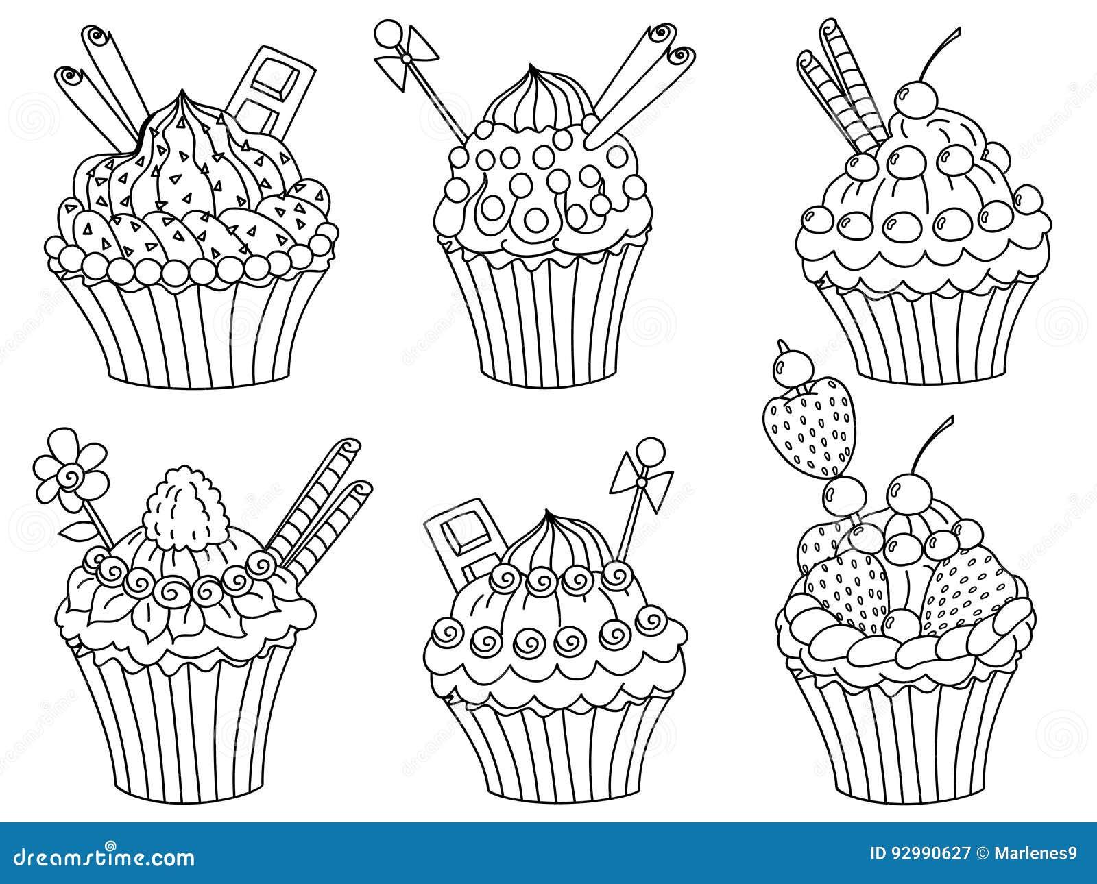 Vector Cupcakes Set, Cupcake Clipart Stock Vector