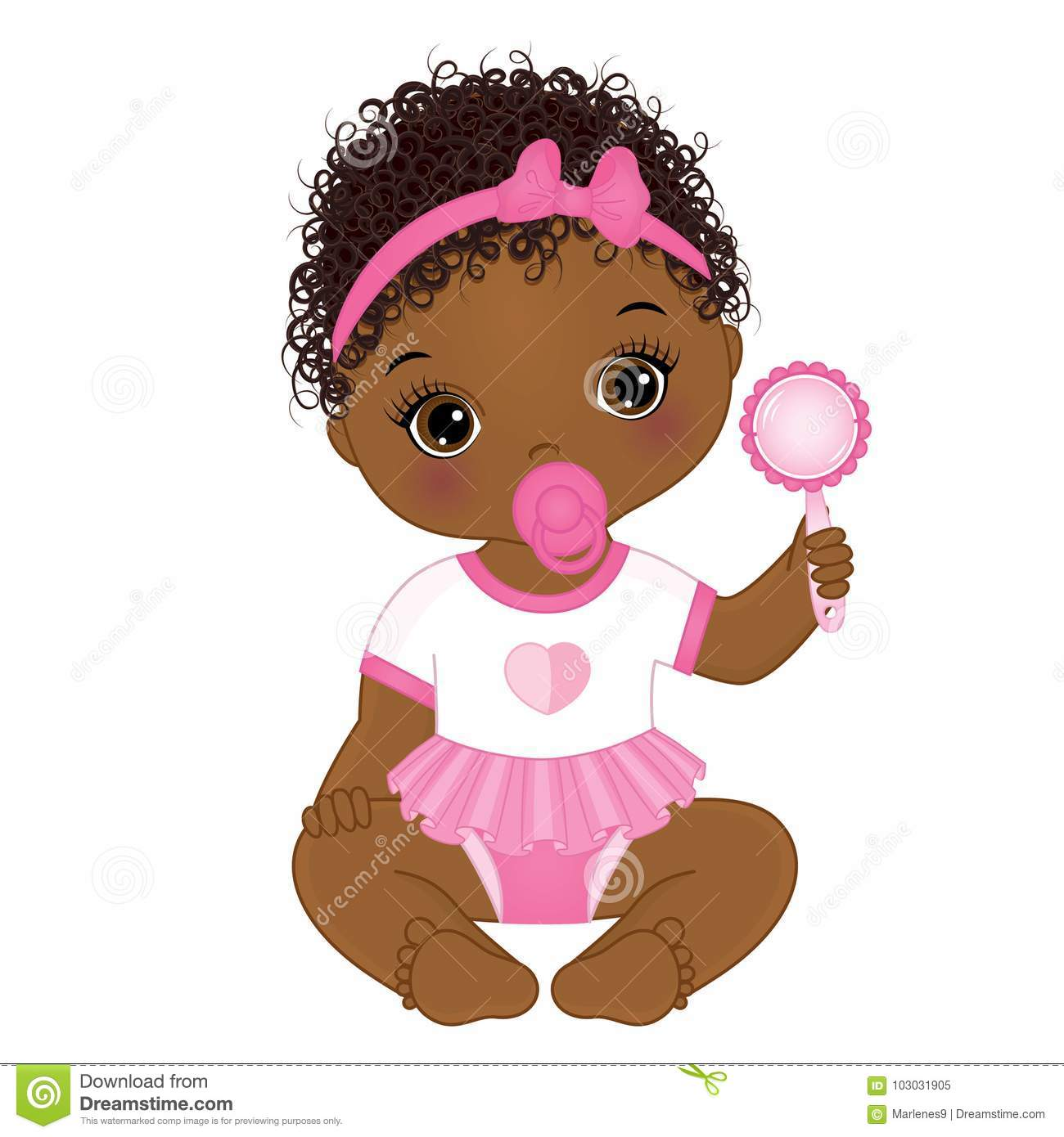 Download Vector Cute African American Baby Girl With Rattle Stock ...