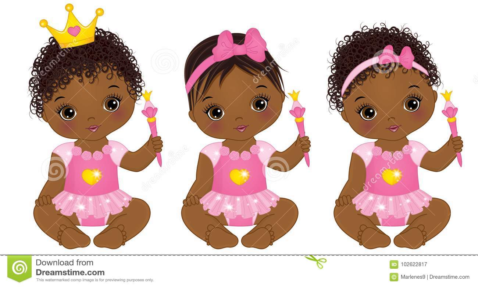Download Vector Cute African American Baby Girls Dressed As ...