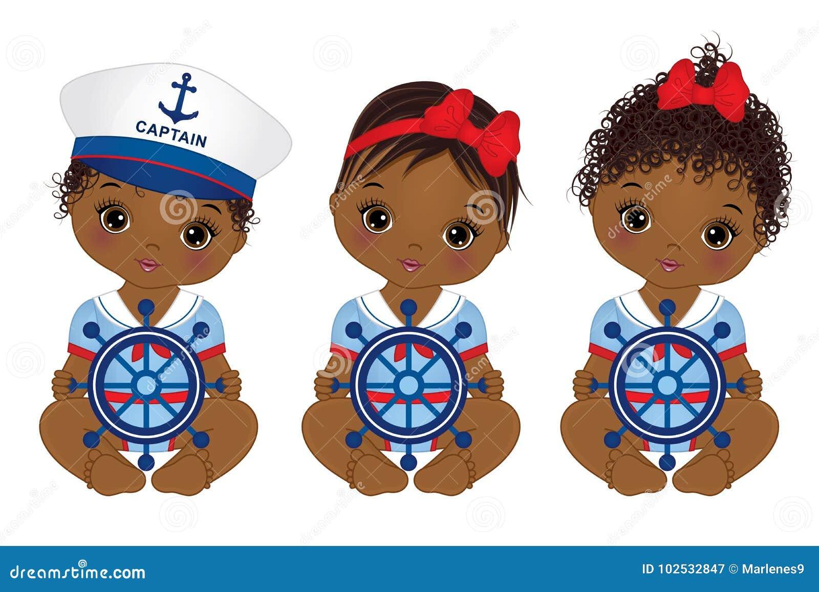 Download Vector Cute African American Baby Girls Dressed In ...