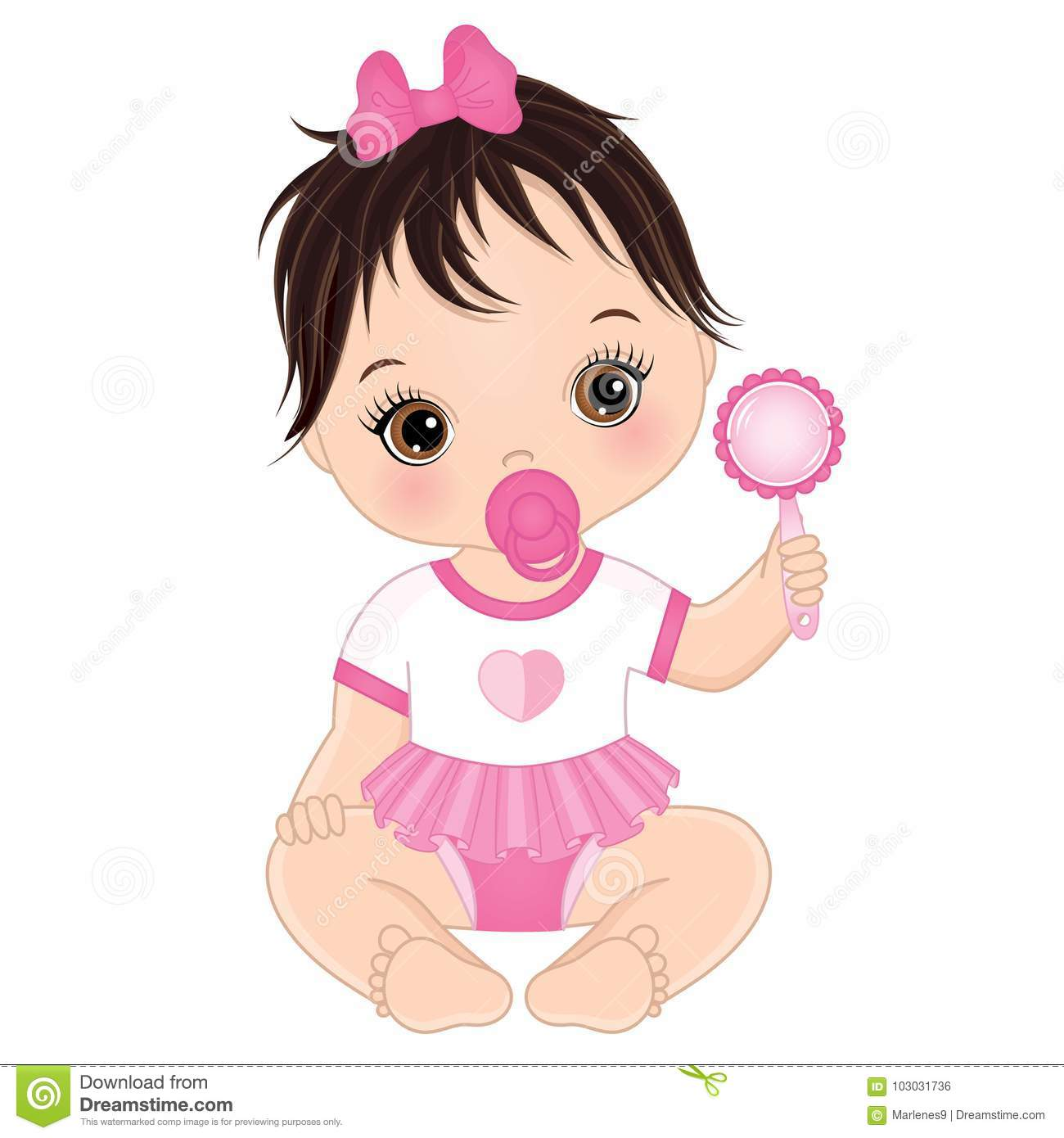 Vector Cute Baby Girl With Rattle Stock Vector Illustration Of
