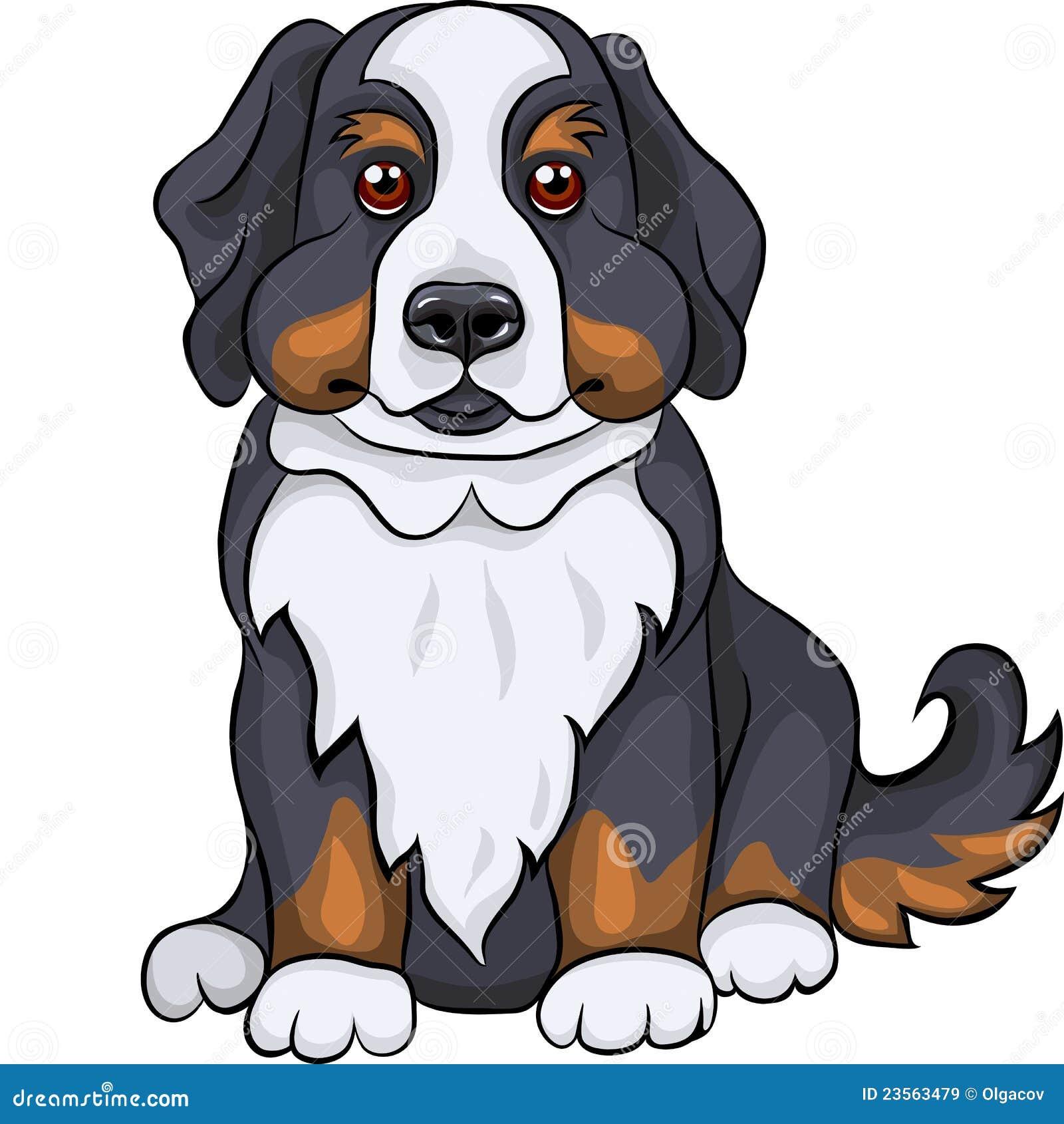vector cute bernese mountain dog puppy smiles royalty free stock