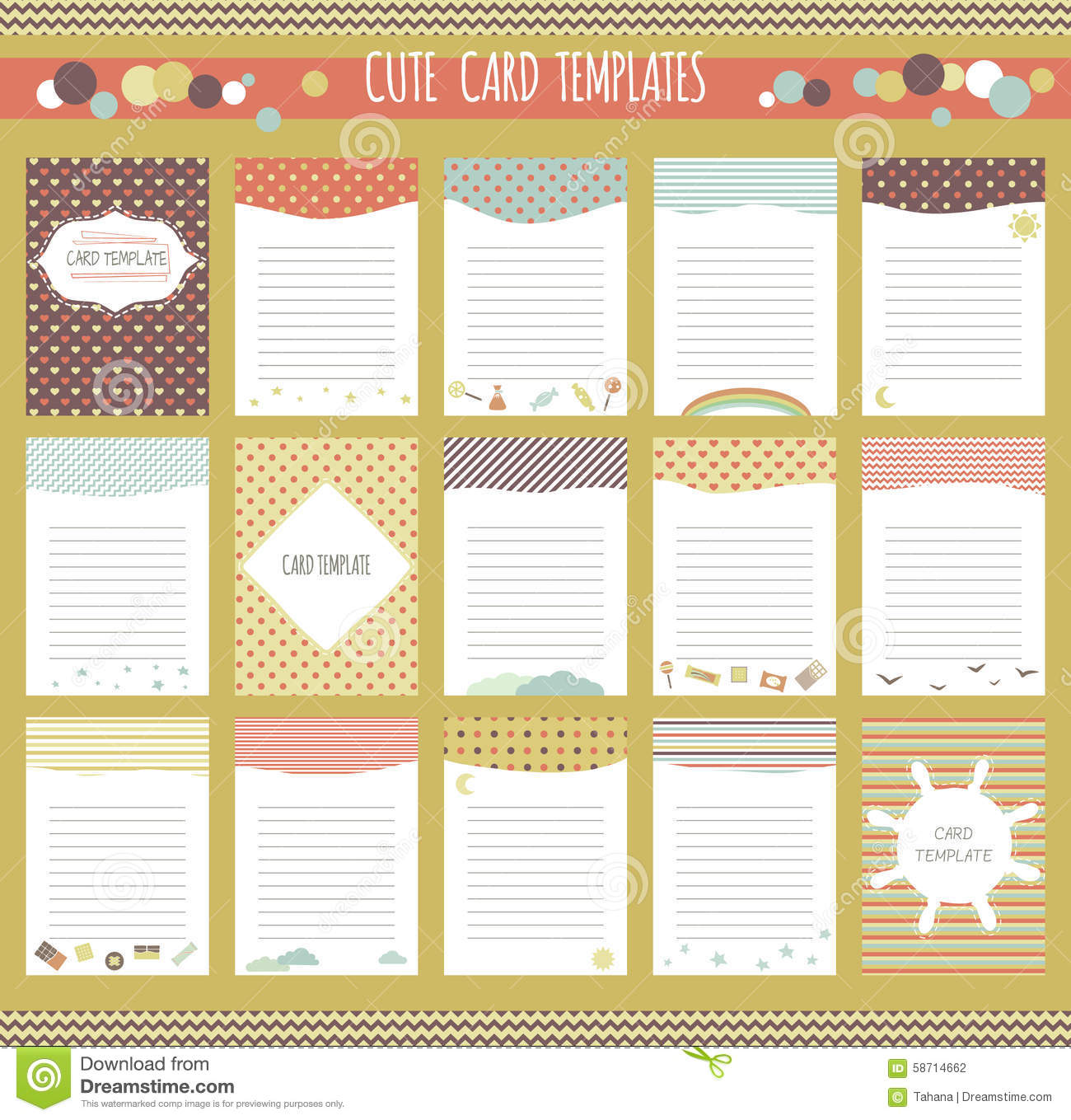 Vector Cute Cards Collection Vector Image 58714662 – Diary Paper Template