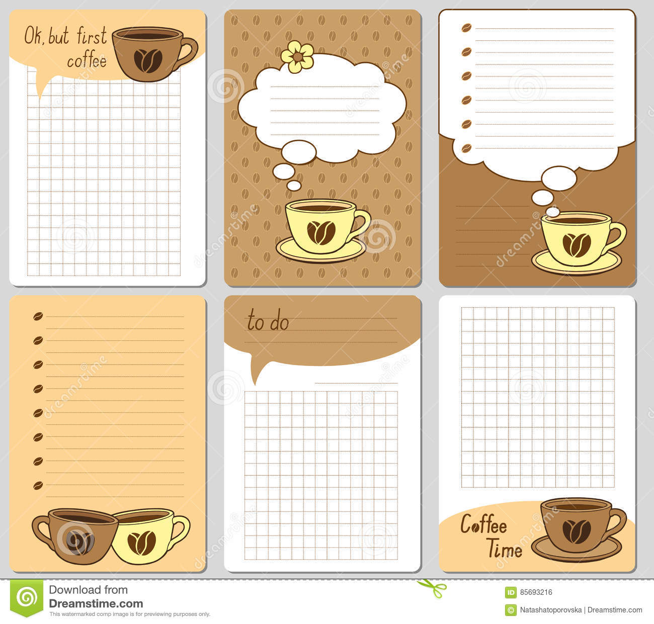 Vector cute cards notes stickers labels tags with funny cups vector cute cards notes stickers labels tags with funny cups and hearts design for craft paper scrapbook template and greet jeuxipadfo Choice Image
