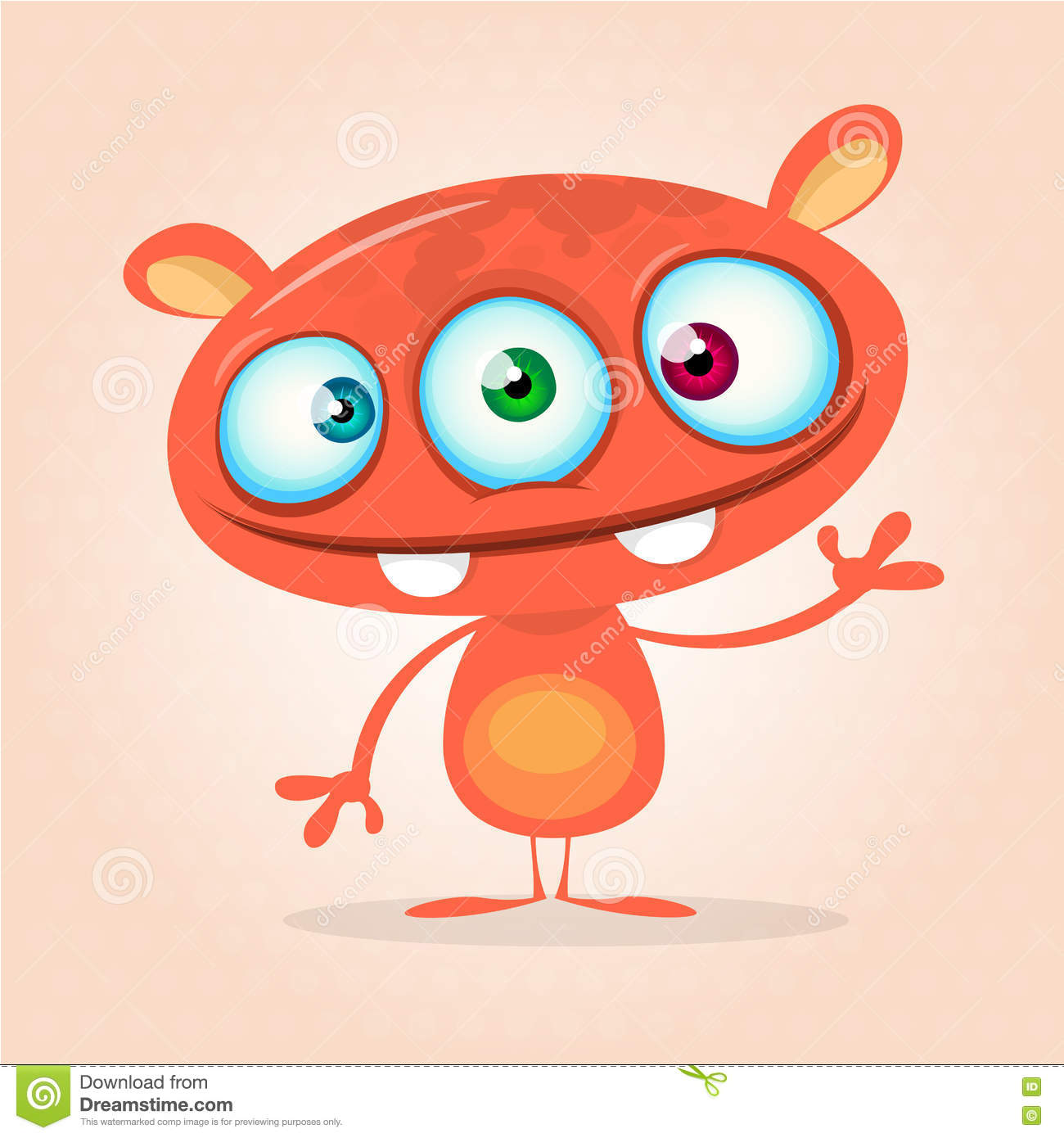 Vector cute caroon monster alien. Halloween monster character with three eyes