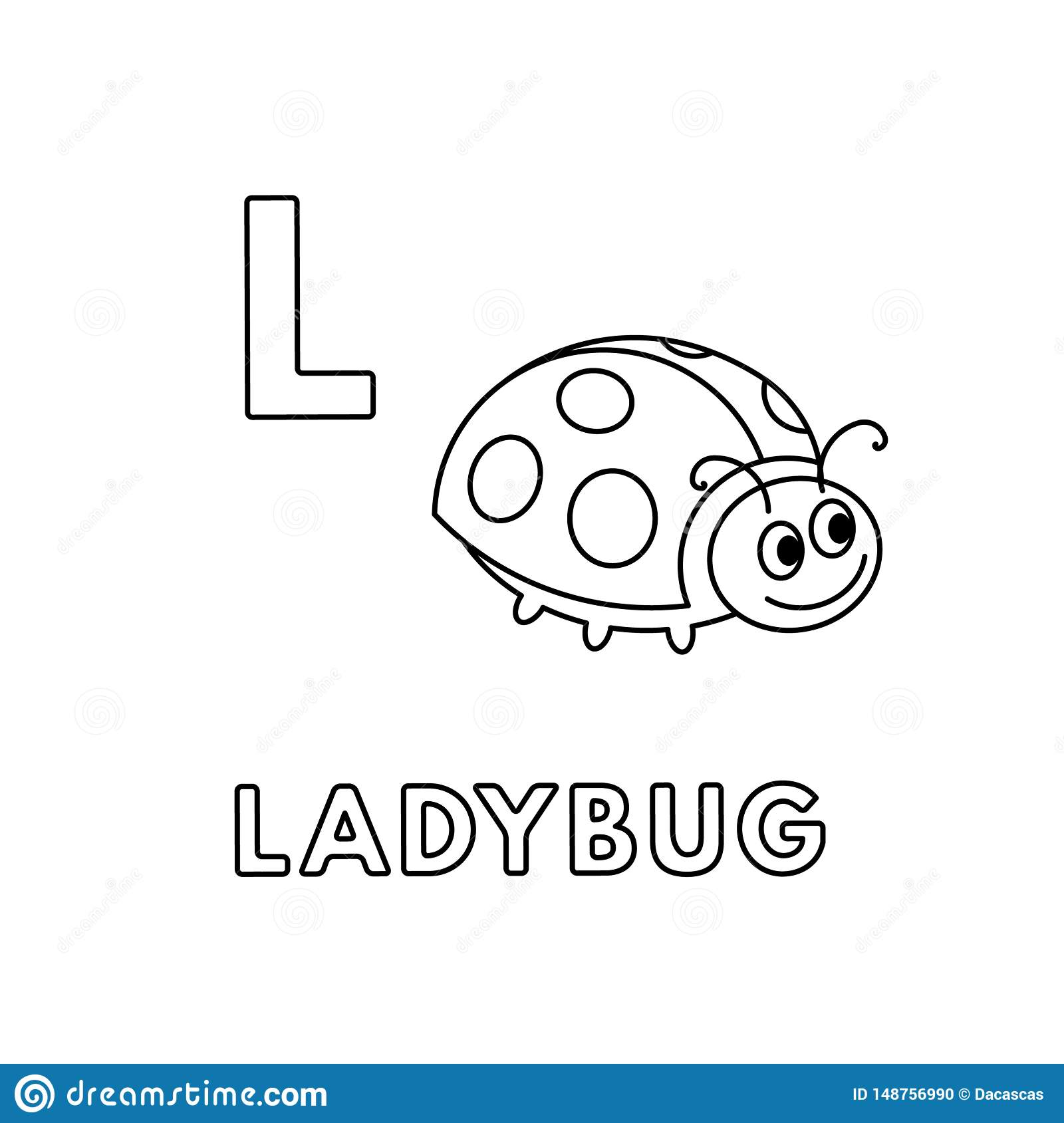 Vector Cute Cartoon Animals Alphabet. Ladybug Coloring Pages ...
