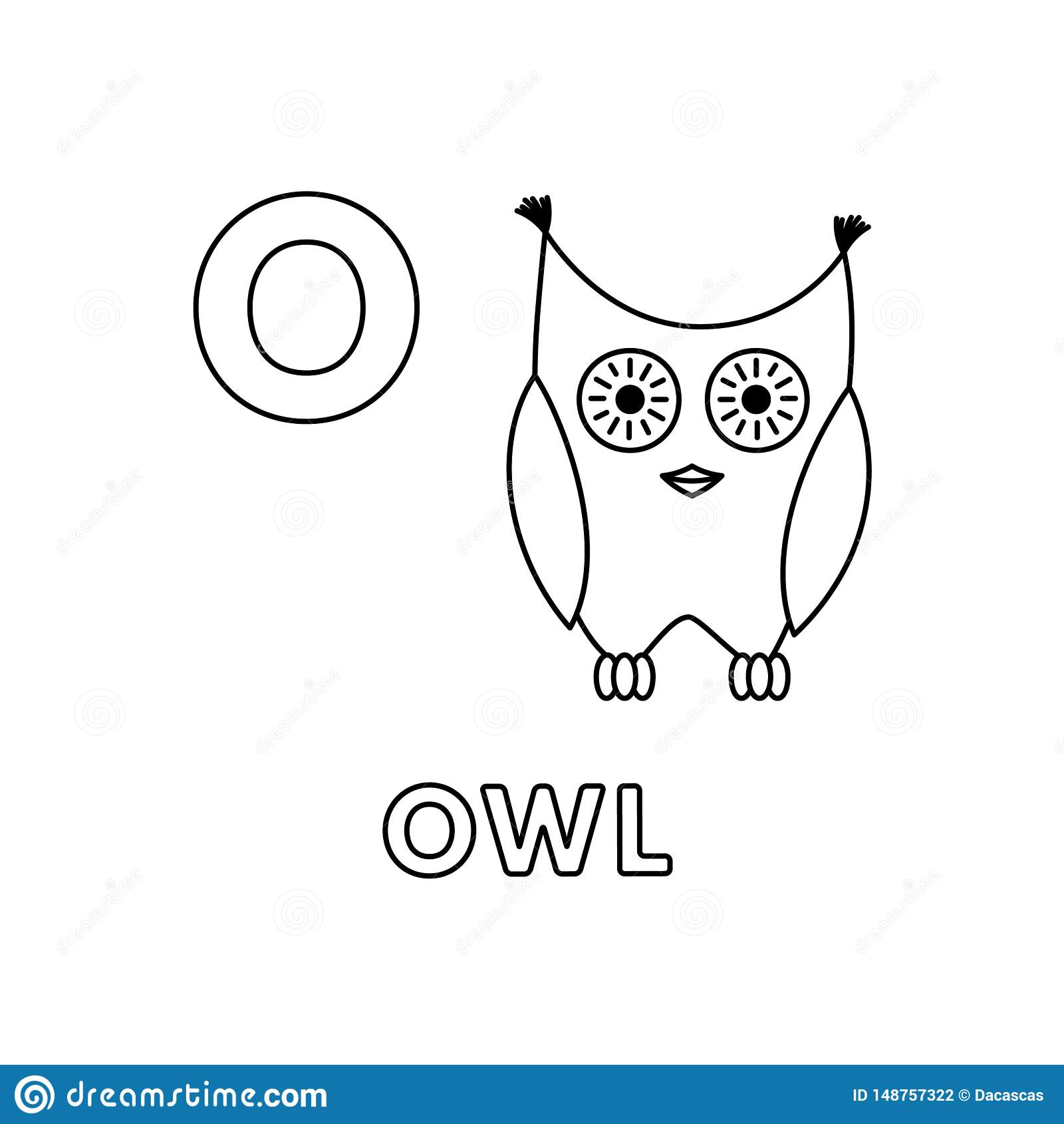Vector Cute Cartoon Animals Alphabet. Owl Coloring Pages ...