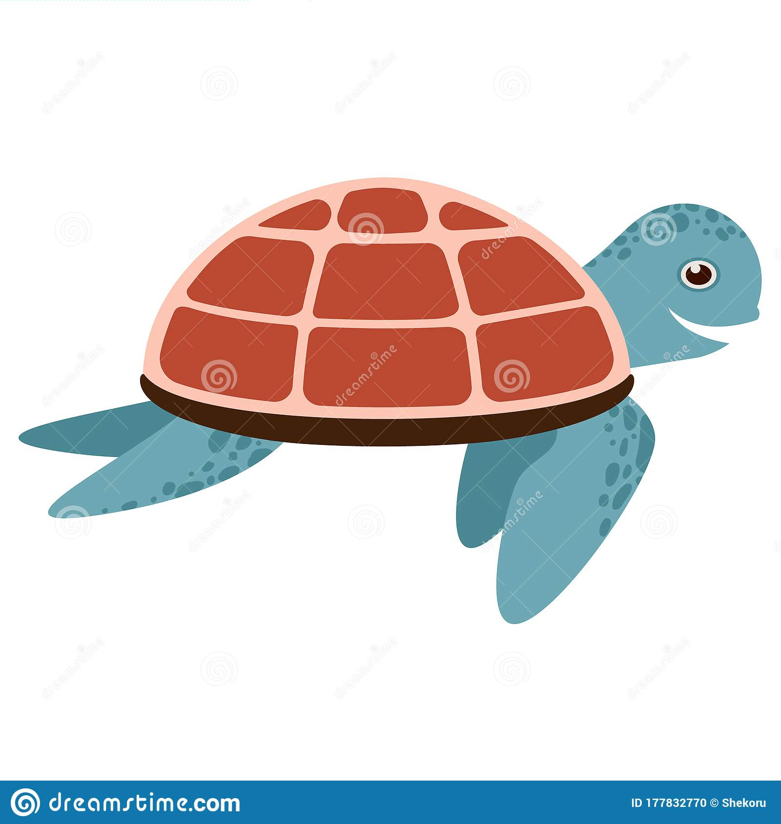 Vector Cute Cartoon Blue Turtle With Red Shell Isolated On White