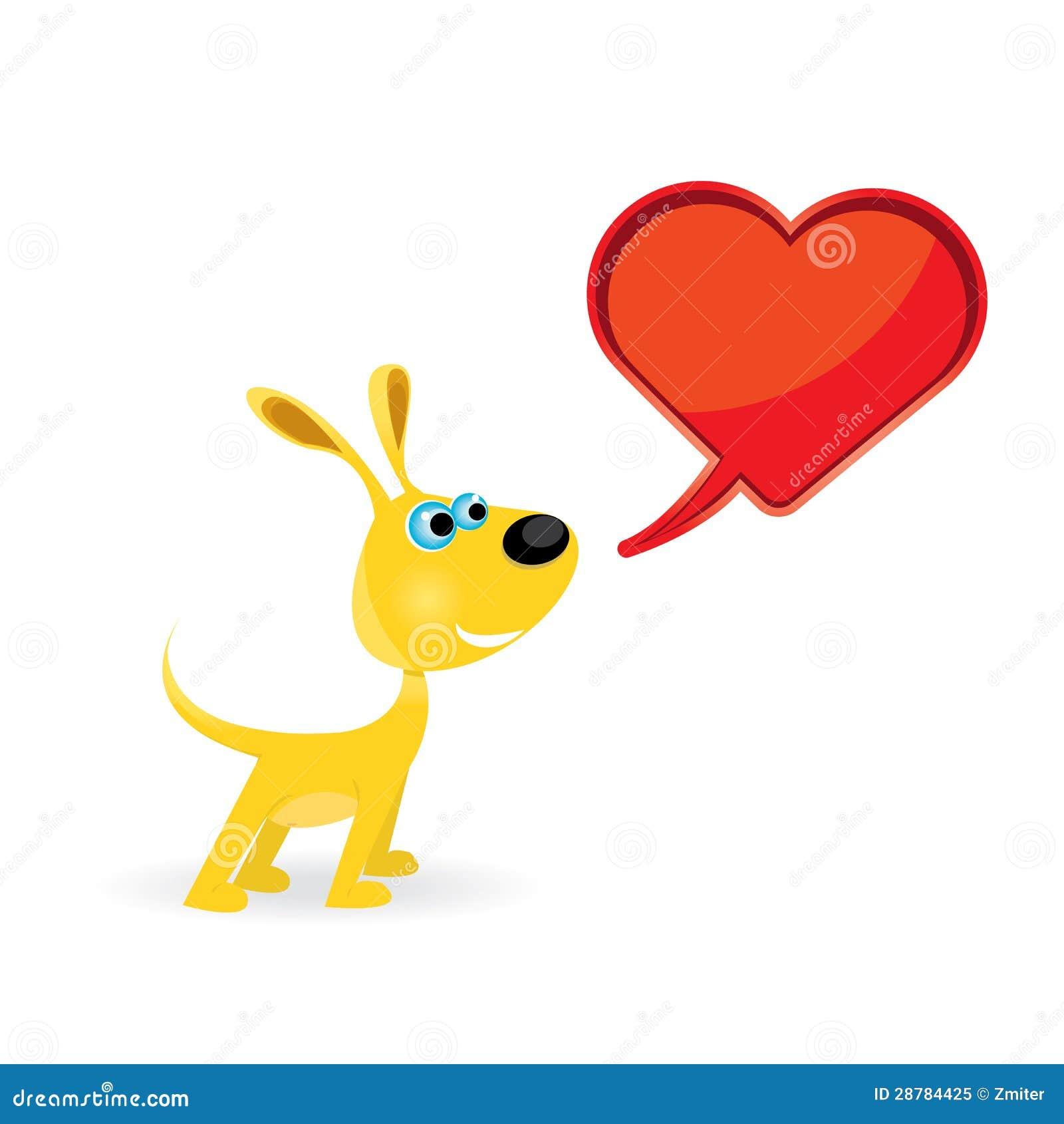 Vector Cute Cartoon Dog With Heart. Stock Vector ...