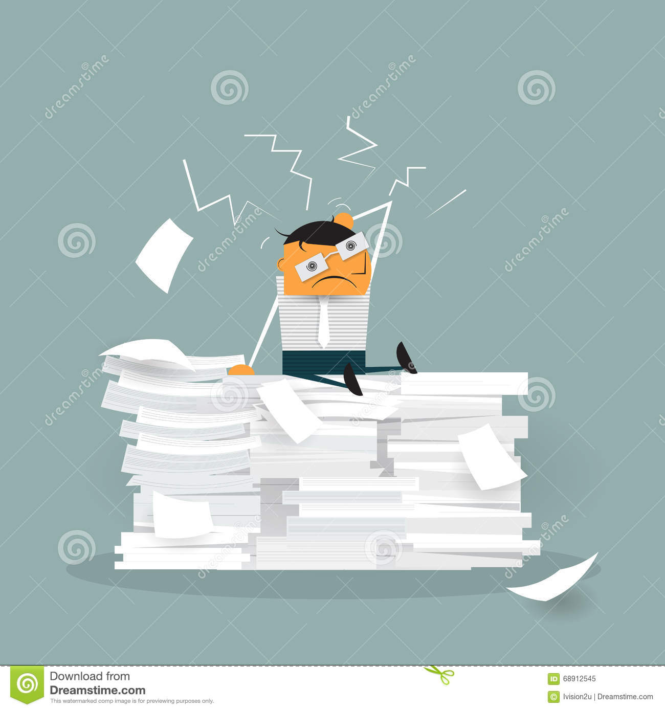 cartoon employee working in a cage stock vector image  vector cute cartoon employee sitting on a lot of paper documents royalty stock photo
