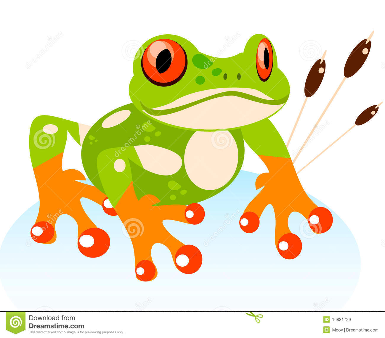 ... Cute Cartoon Friendly Frog, Colorful Red-eyed Tree Frog illustration