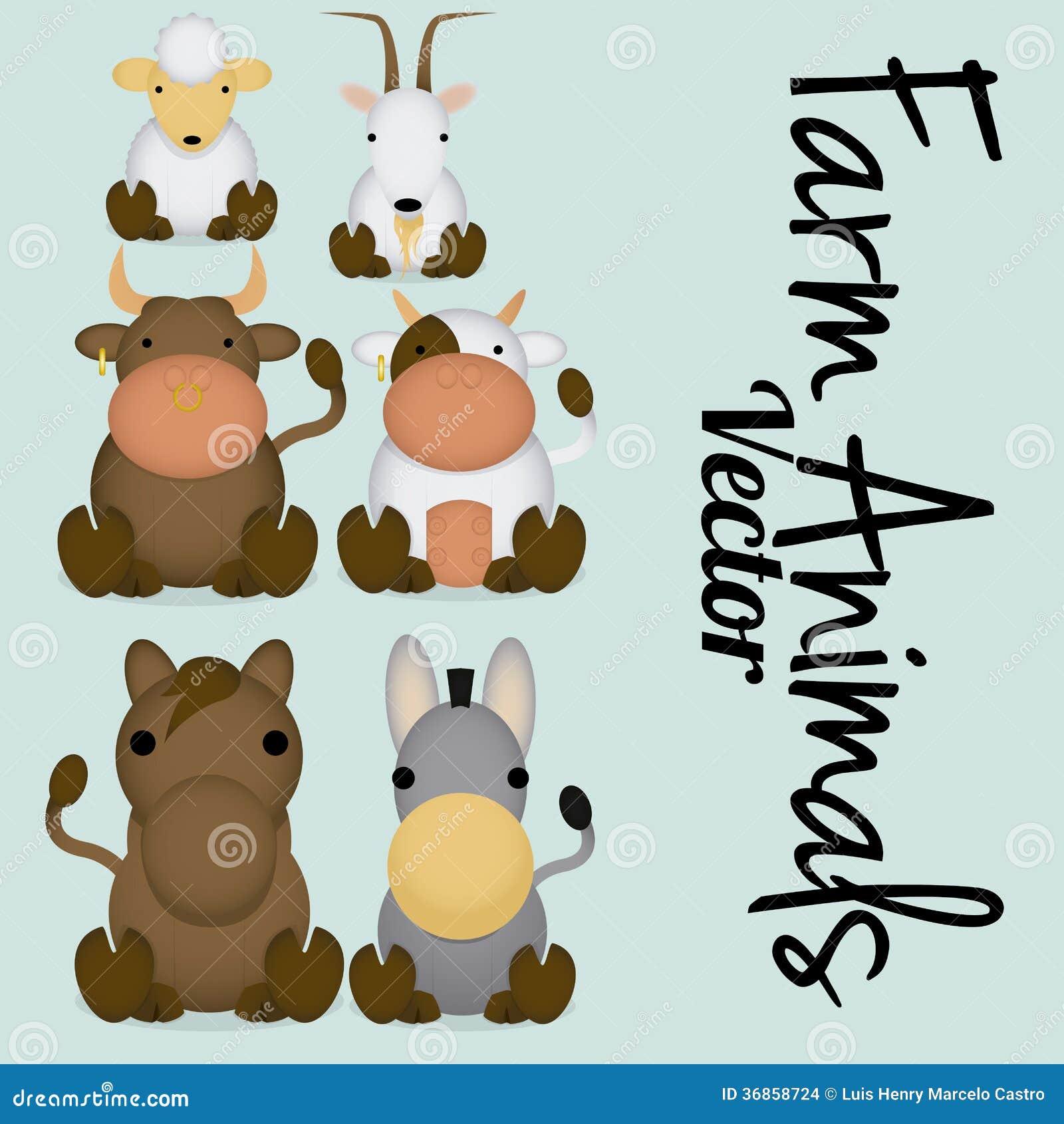 Cute farm animals cartoon